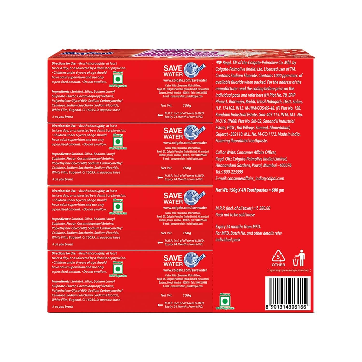Colgate Maxfresh Toothpaste, Red Gel Paste With Menthol For Super Fresh Breath, 150g X 4 (spicy Fresh) - 650g