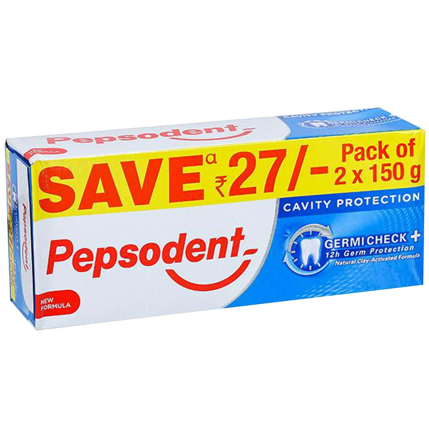 Pepsodent Germi Check Cavity Protection, 2 X 150 Gm With Save Rs. 27/-