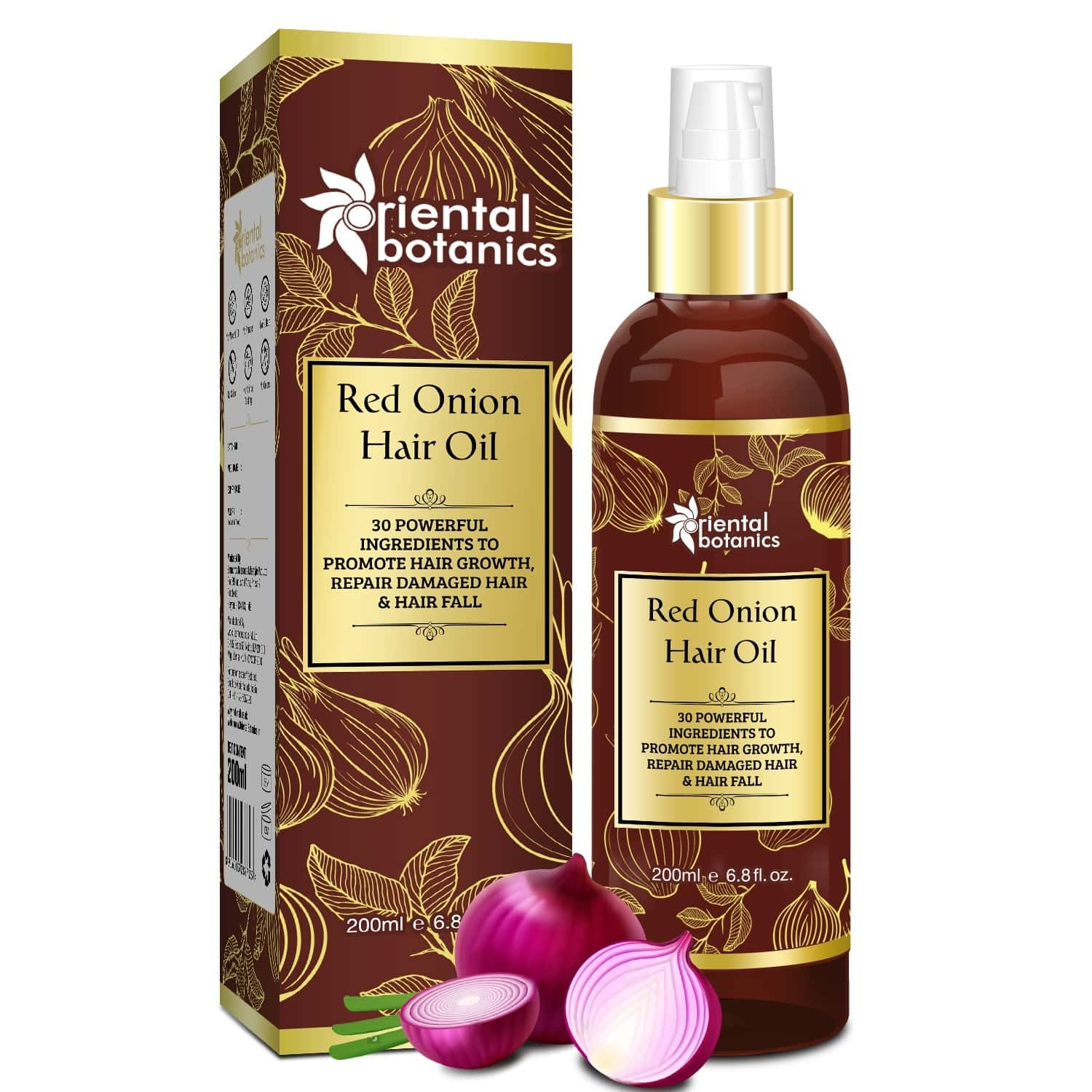 Oriental Botanics Red Onion Hair Oil With Comb Applicator 200ml - With 30 Oils & Extracts For Stronger Growth And To Control Hair Fall - 200 Ml