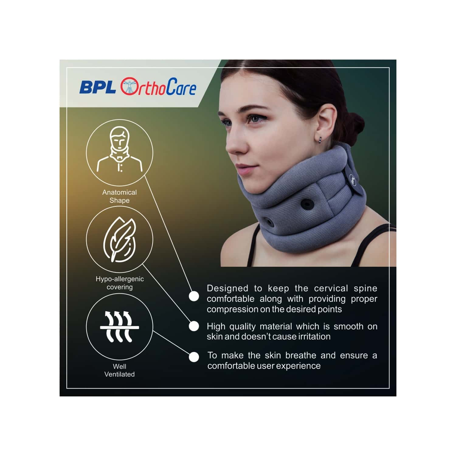 Bpl Orthocare Soft Cervical Collar Grey - L - 1pc