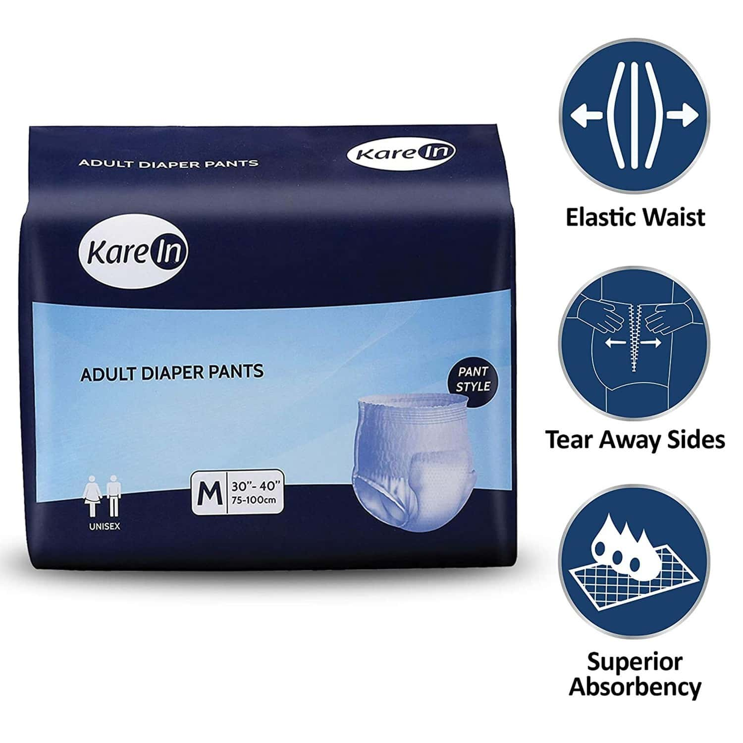 Kare In Pull Ups - Pant Style Underwear Medium Waist Size 75-100cm (30-40) High Absorbency 10 Pcs