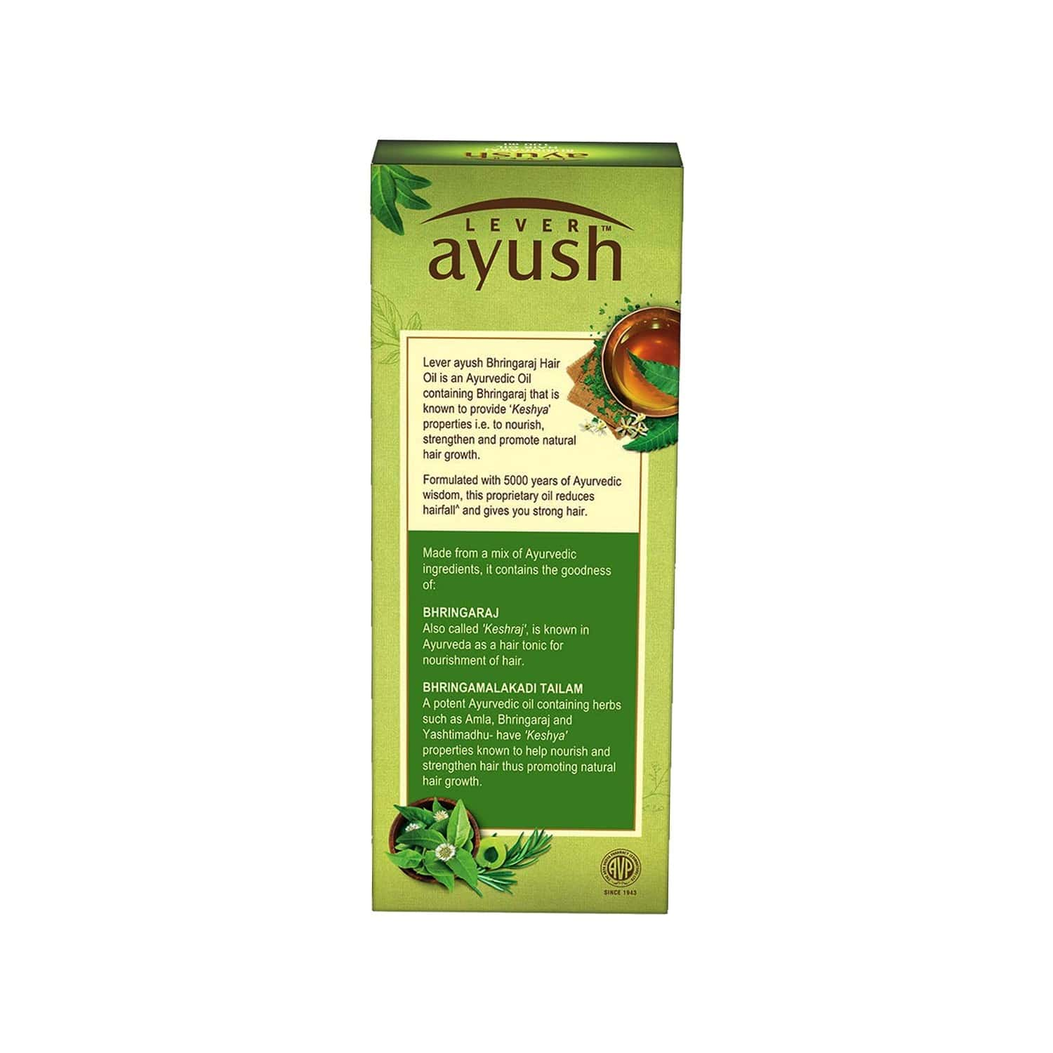 Lever Ayush Ayurvedic Bhringaraj Hair Oil-100 Ml