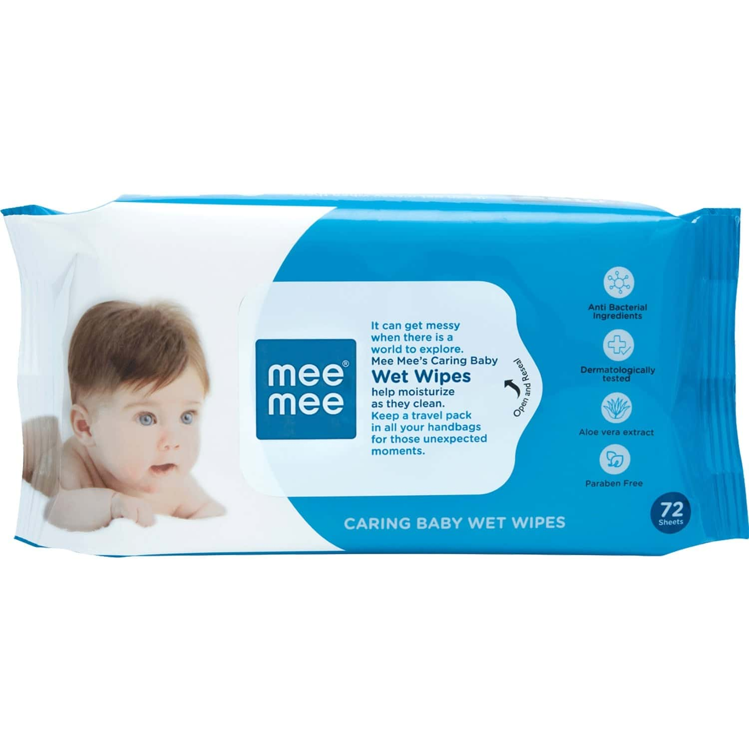 Mee Mee Caring Baby Wet Wipes With Aloe Vera - 72 Units