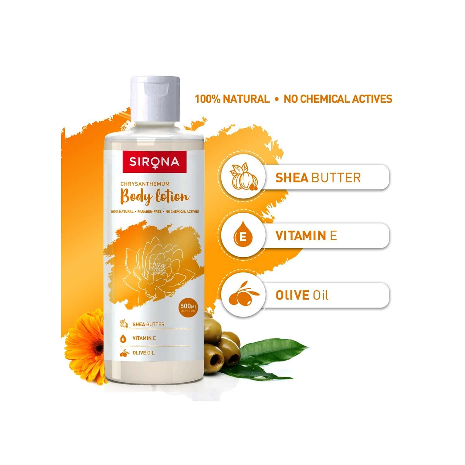 Sirona Natural Chrysanthemum Body Lotion With Shea Butter- Vitamin E And Olive Oil - 500ml