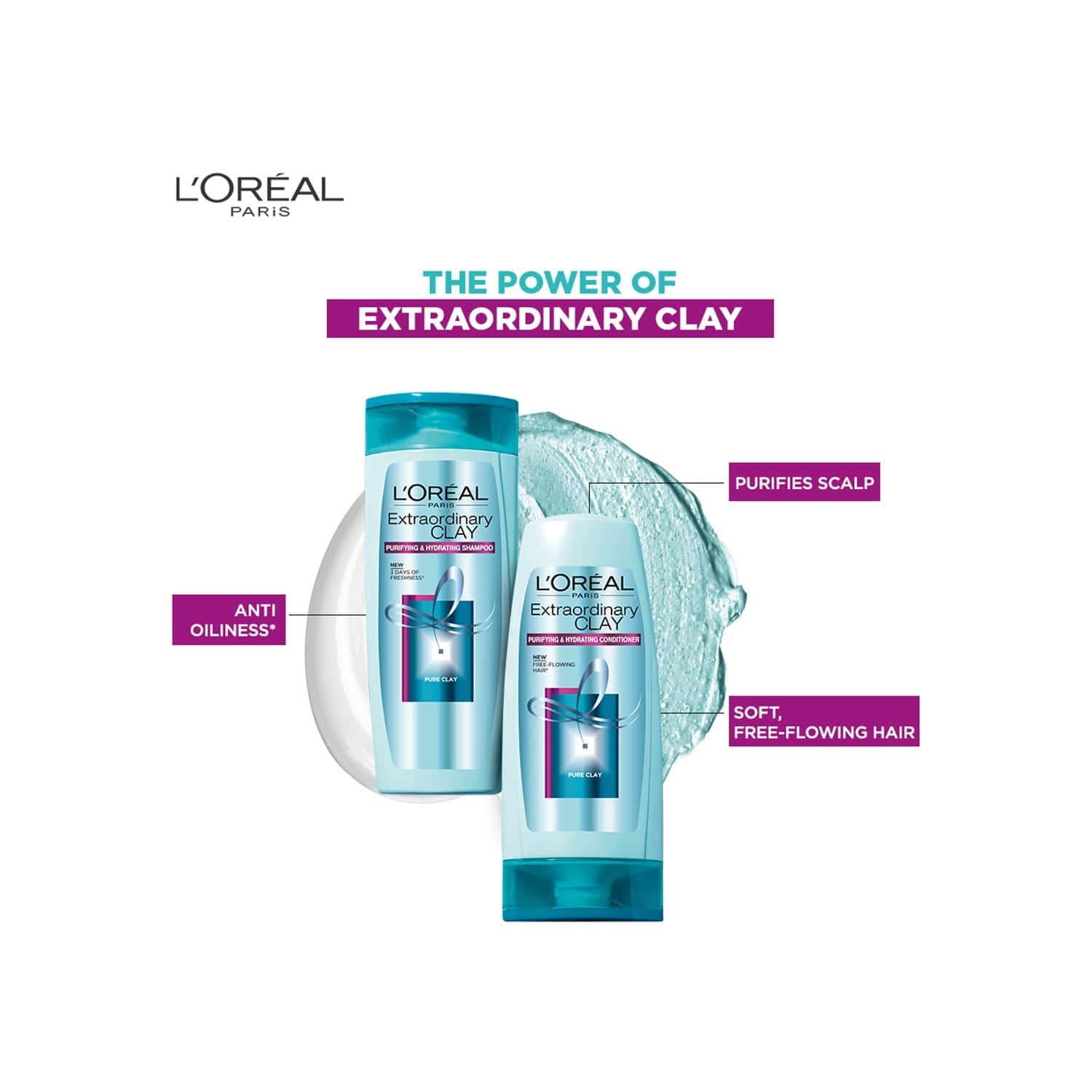 L'oreal Paris Extraordinary Clay Hair Conditioner Bottle Of 175 Ml