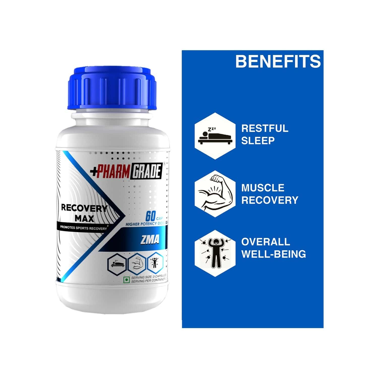 Pharmgrade Recovery Max Zma With Magnesium, Zinc & Vitamin B6 For Immune Support, Nerves, Muscles - 60 Capsules