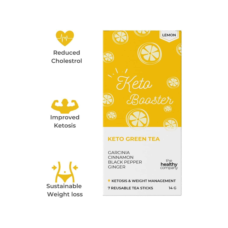 The Healthy Company One Week Keto Booster - 14 Lemon Flavoured Natural Keto Green Tea Sticks -diabetes Pcod Thyroid & Keto - Men & Women