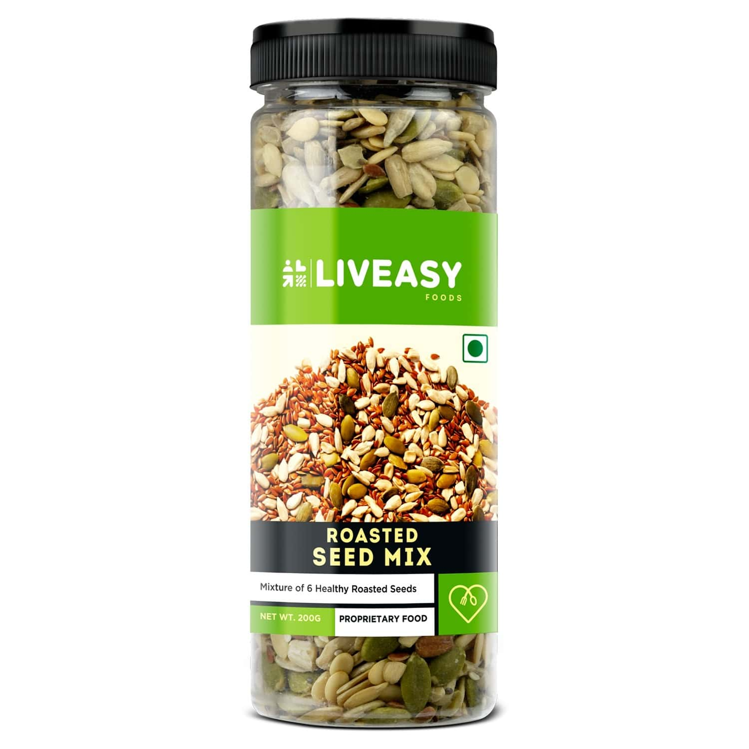 Liveasy Foods Healthy Roasted Seed Mix - Blend Of 6 Fibre Rich Healthy Roasted Seeds