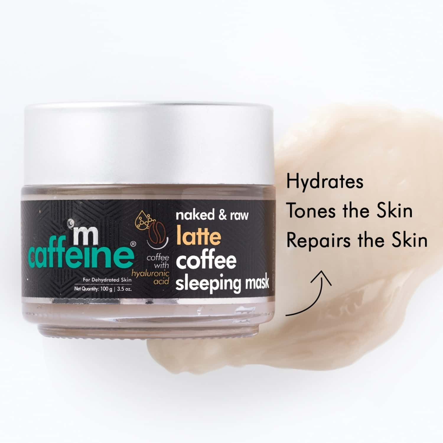Mcaffeine Latte Coffee Sleeping Face Mask With Niacinamide & Hyaluronic Acid For Hydration & Skin Repair(100gm)
