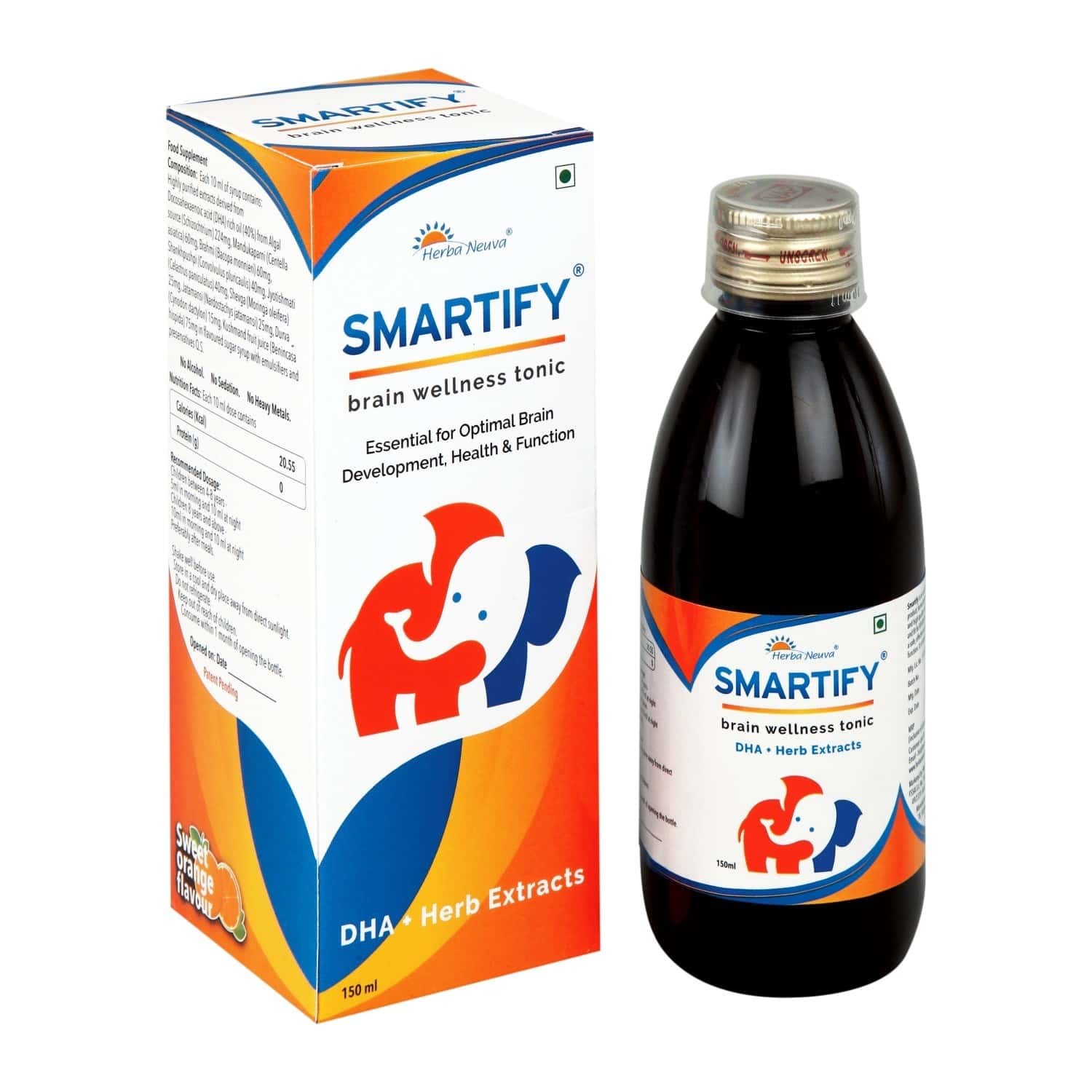 Herba Neuva Smartify Syrup- Veg Omega-3 (dha) -for Brain Health, Memory,&concentration - 1x150ml