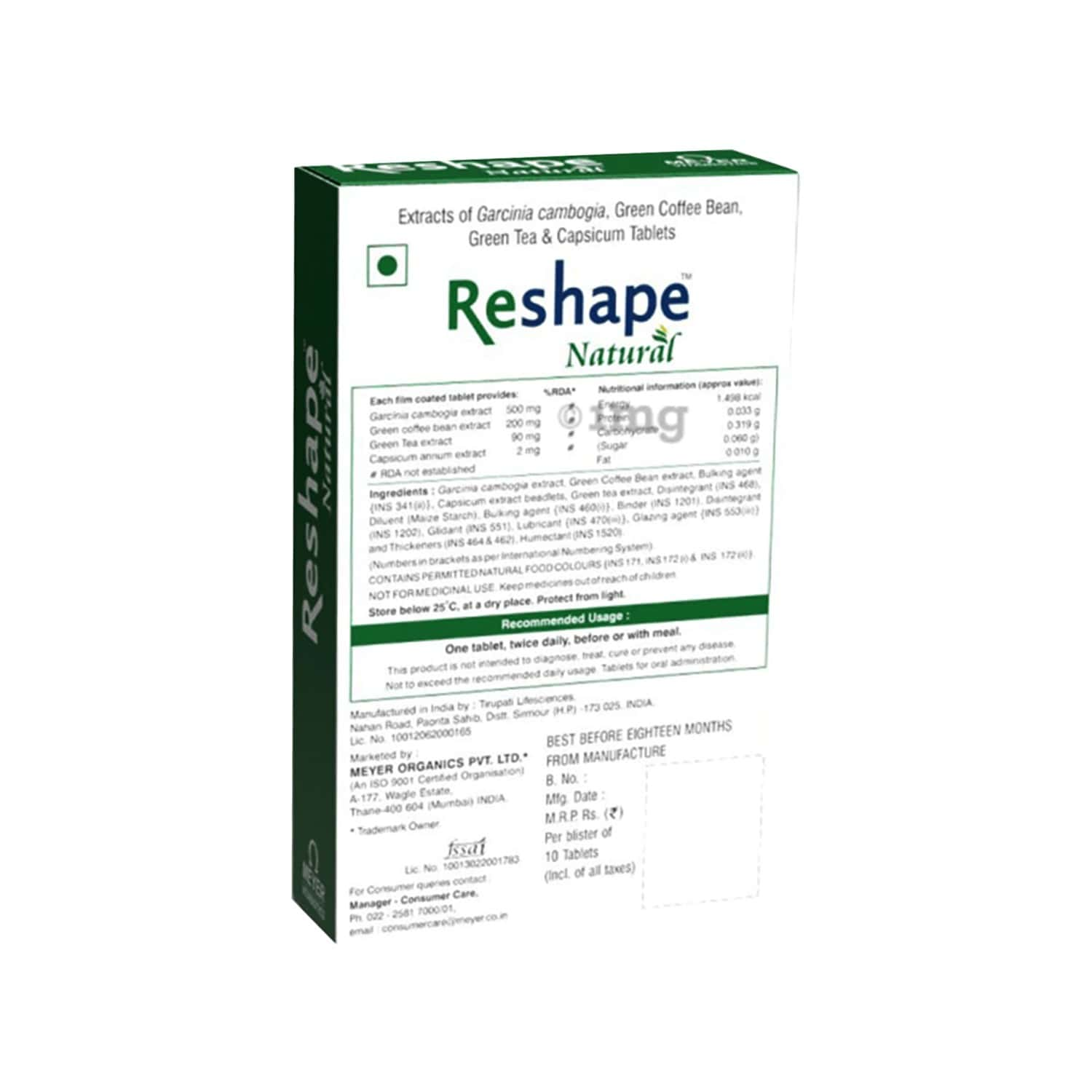 Reshape Natural - Health Supplement (with Coffee Bean And Green Tea Extracts) With Wellman 30 Tablet Free