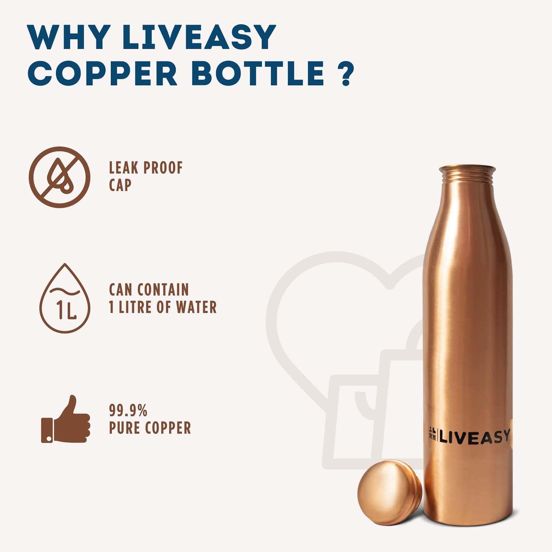 Liveasy Essentials Copper Bottle-ayurvedic Health Benefits -leak Proof Cap- 1000ml