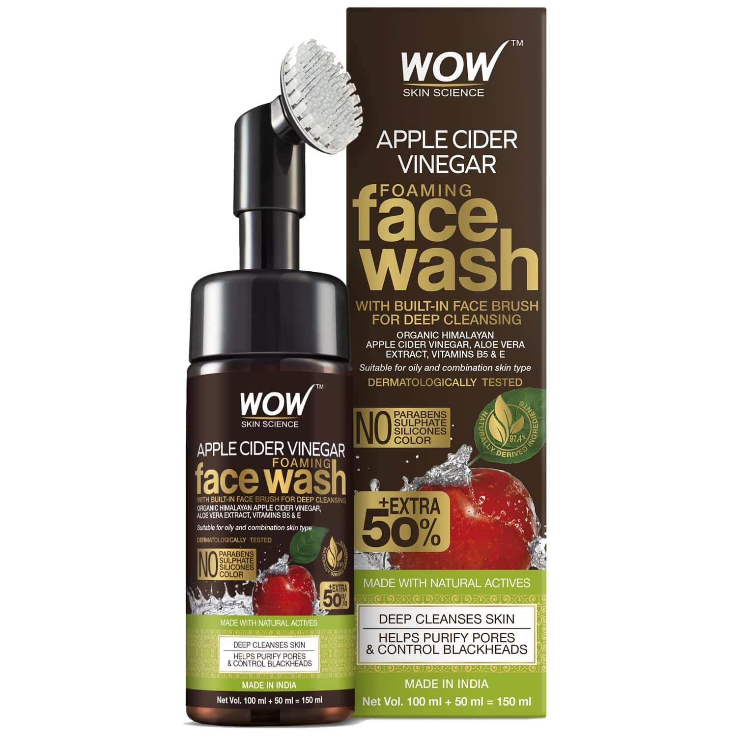 Wow Apple Cider Vinegar Foaming Face Wash (with Built-in Brush), 150 Ml