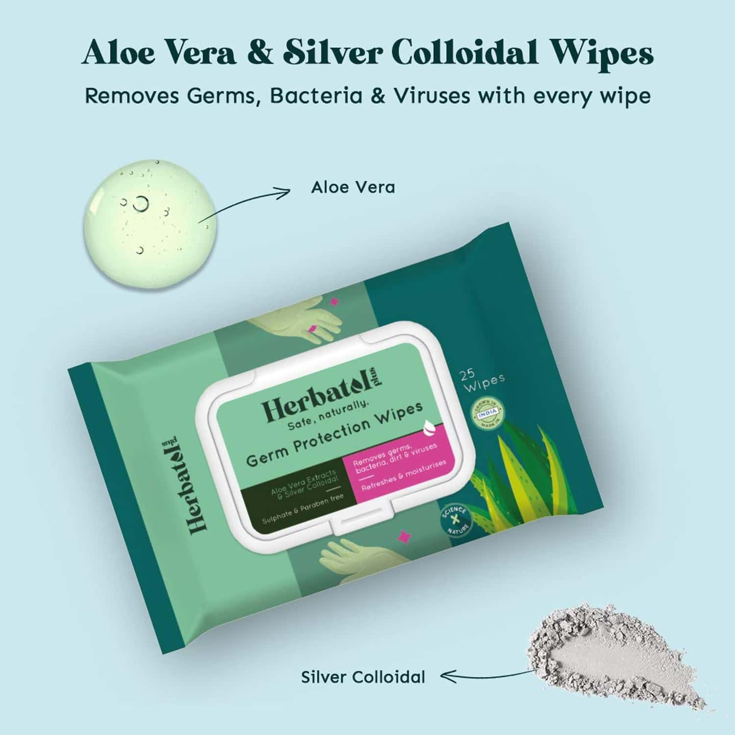 Herbatol Plus Combo Wipes,all Purpose Sanitizer Spray,hand Sanitizer Anti Bacterial Soap For Personal Body Hygiene Kit