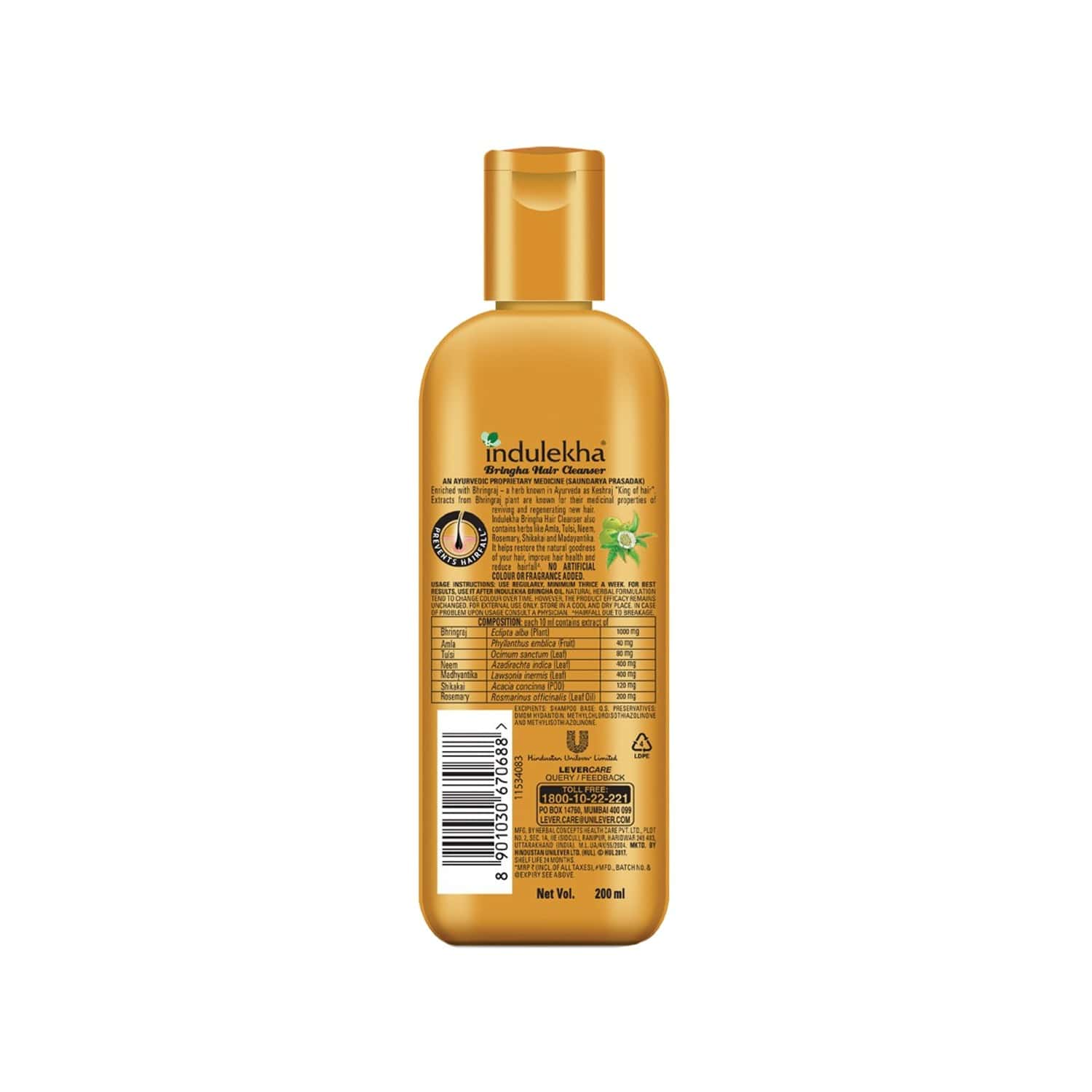 Indulekha Bringha  Anti-hairfall Shampoo  Bottle Of 200 Ml