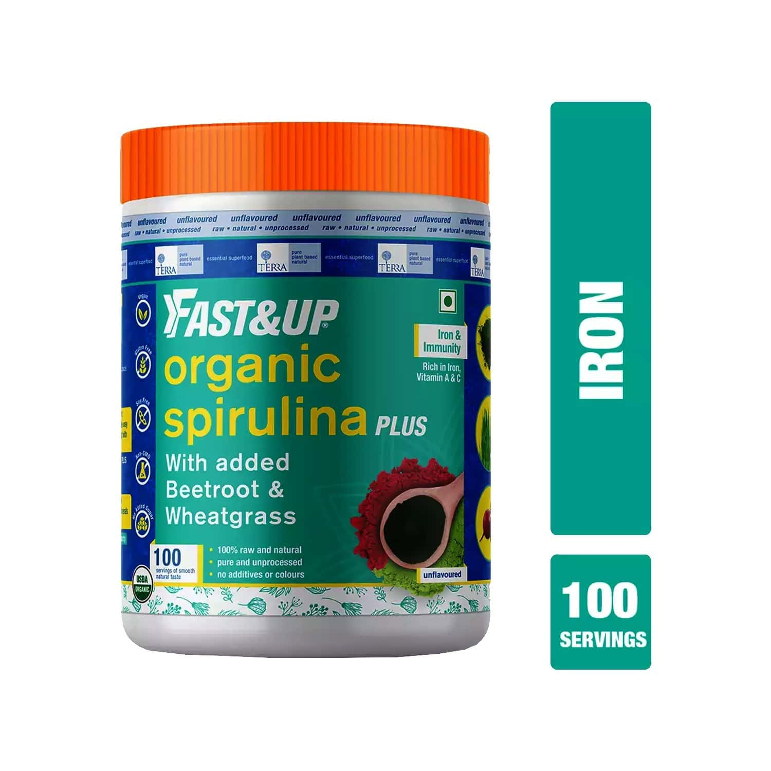 Fast&up Organic Spirulina Plus Wheatgrass And Beetroot - Iron And Immunity - Plant Based Powder - Unflavoured - 300 Gm