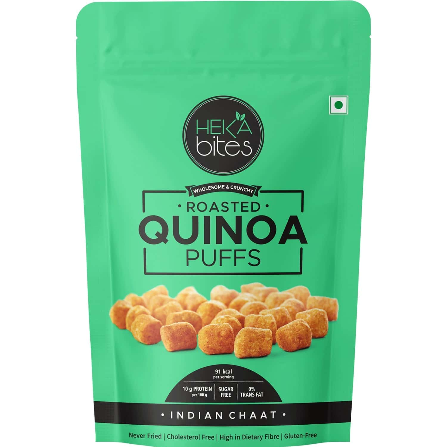 Heka Bites Roasted Quinoa Puffs Indian Chaat -pack Of 2x40g |low Calorie & Healthy Snacks