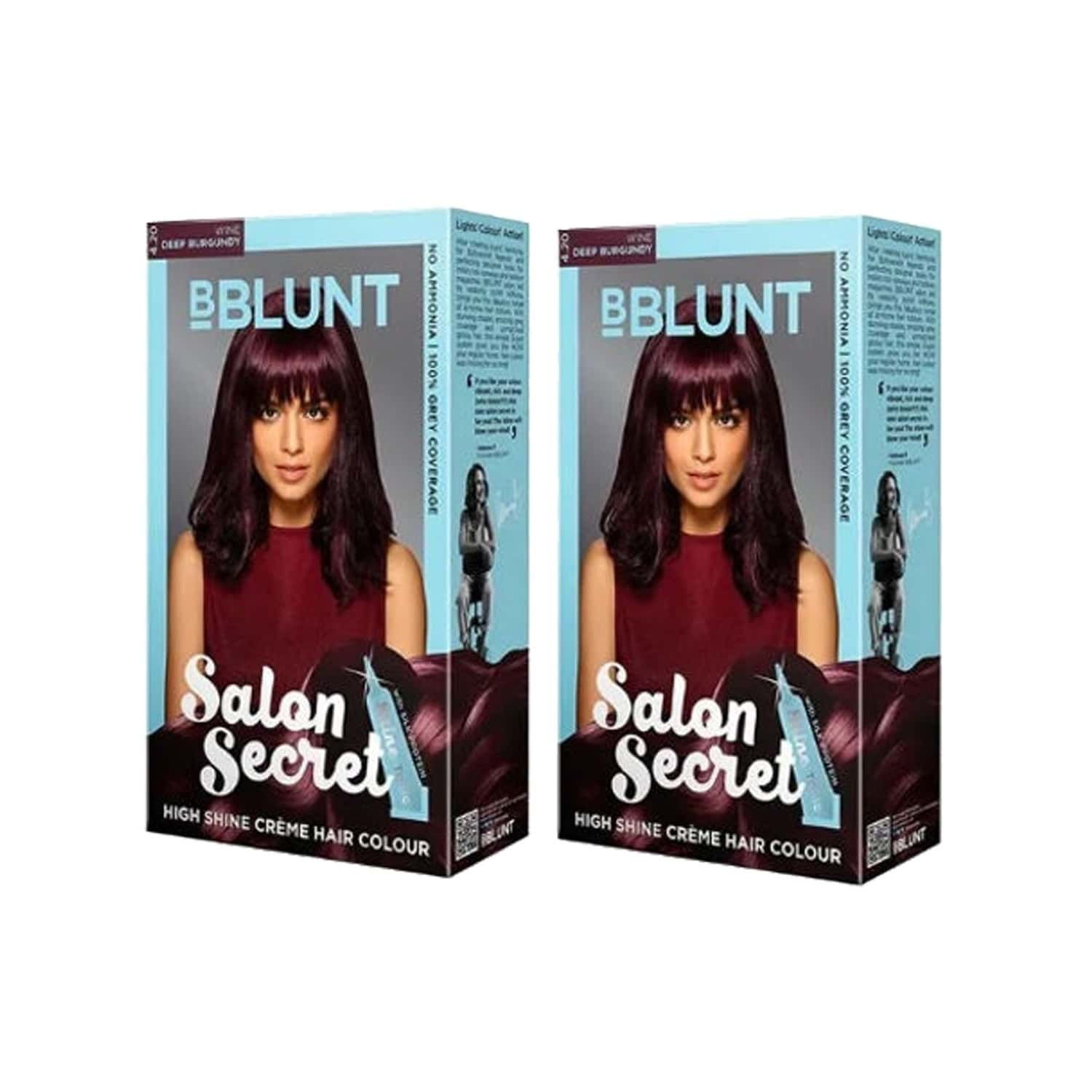 Bblunt Salon Secret High Shine Creme Hair Colour - Wine Deep Burgundy 4.20 Combo