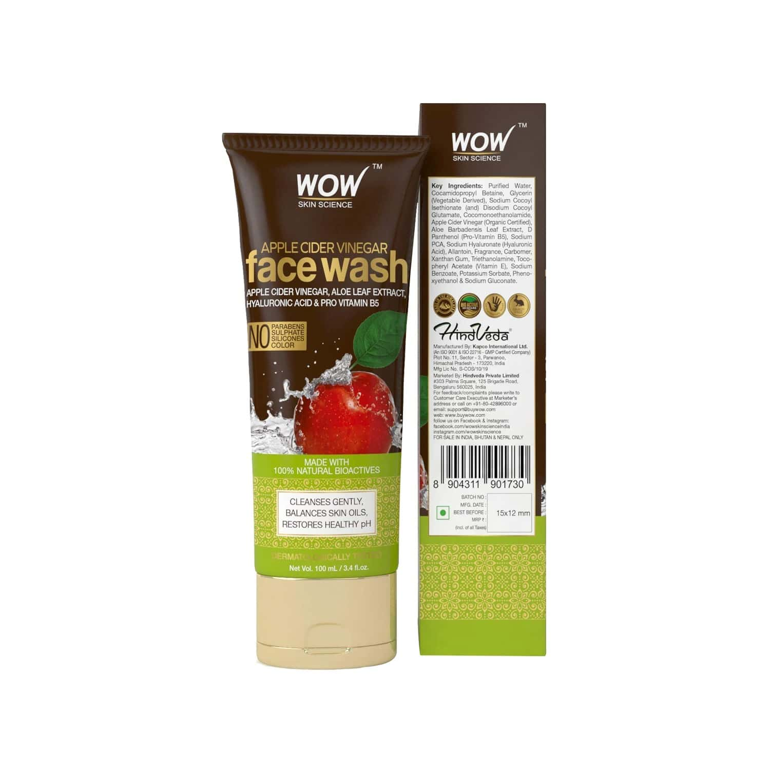 Wow Skin Science Apple Cider Vinegar Face Wash Tube - 100 Ml
