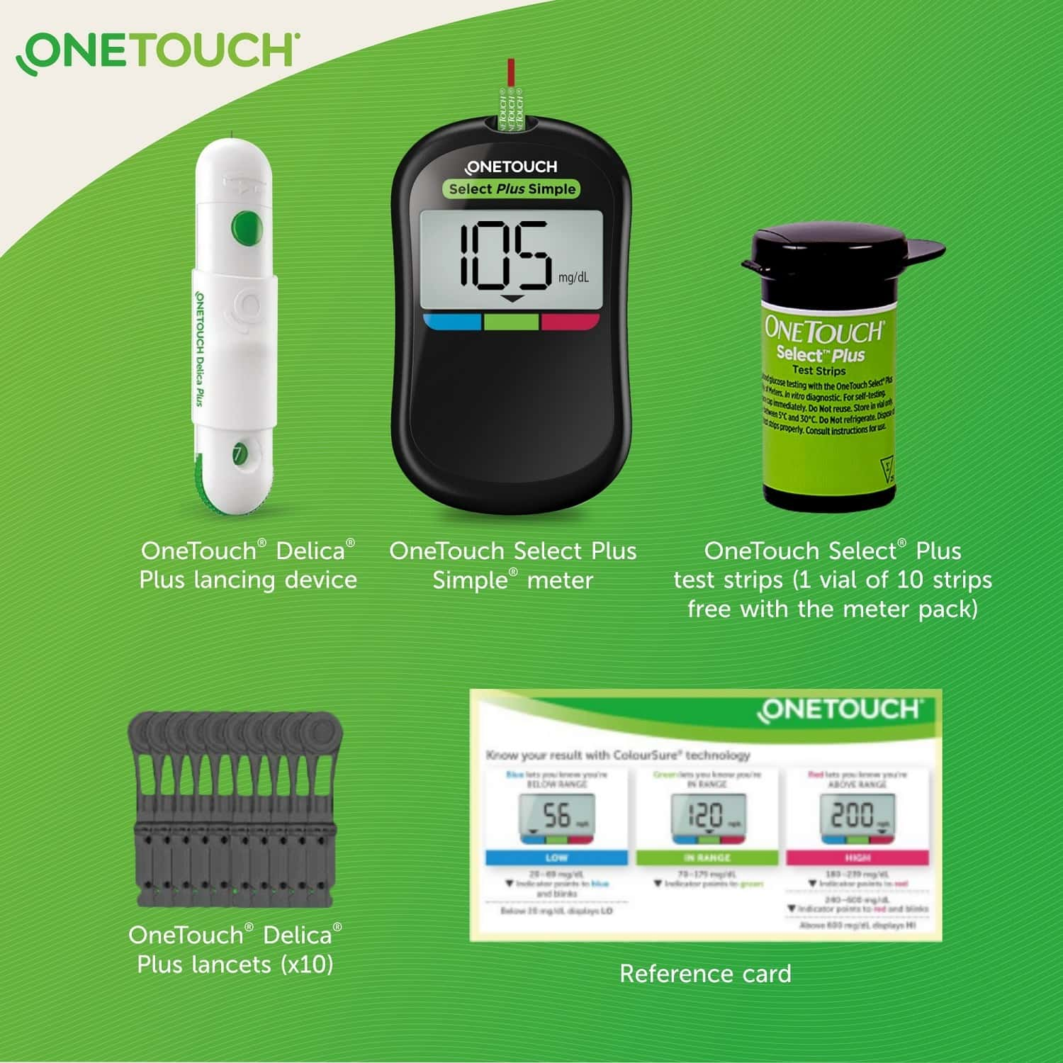 Onetouch Select Plus Simple Glucometer With 10 Free Strips