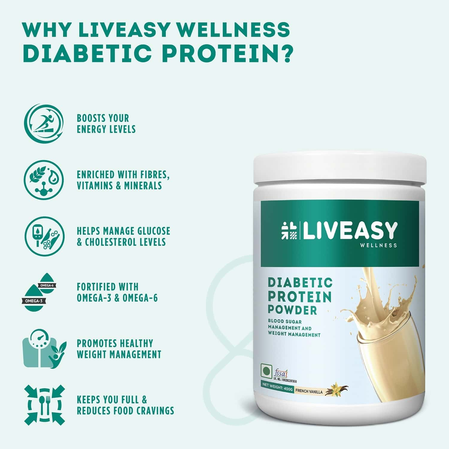 Liveasy Wellness Diabetic Protein - Blood Sugar & Weight Management -french Vanilla 400g Jar