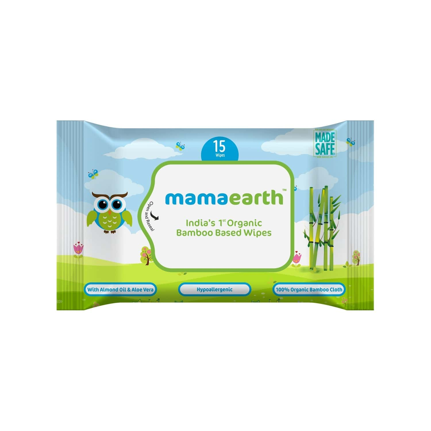 Mamaearth Organic Bamboo Baby Wipes Travel Pack Packet Of 15