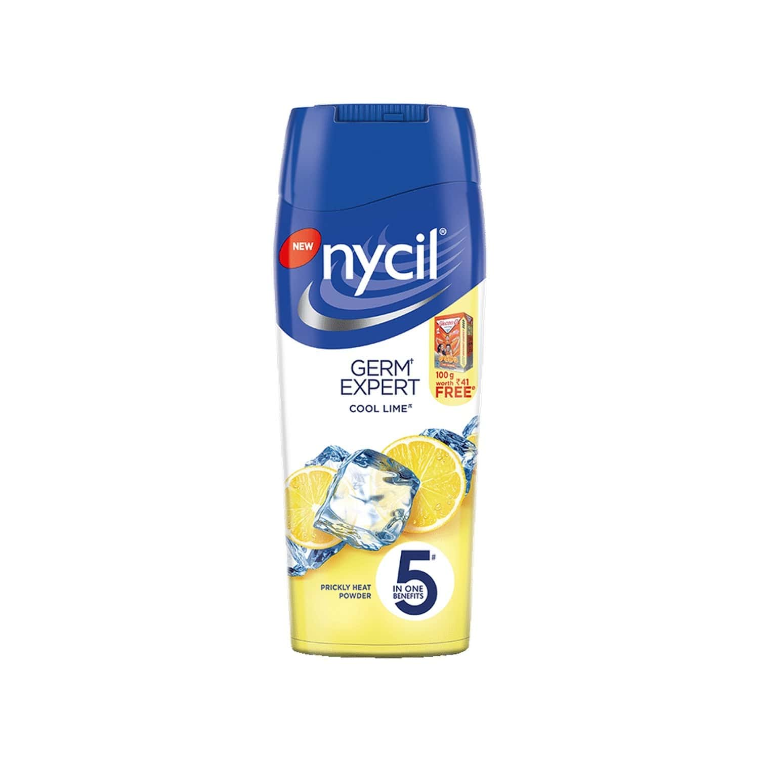 Nycil Cool Lime Prickly Heat Powder - 150gm (free Glucon-d Orange 100gm Worth Rs 41)