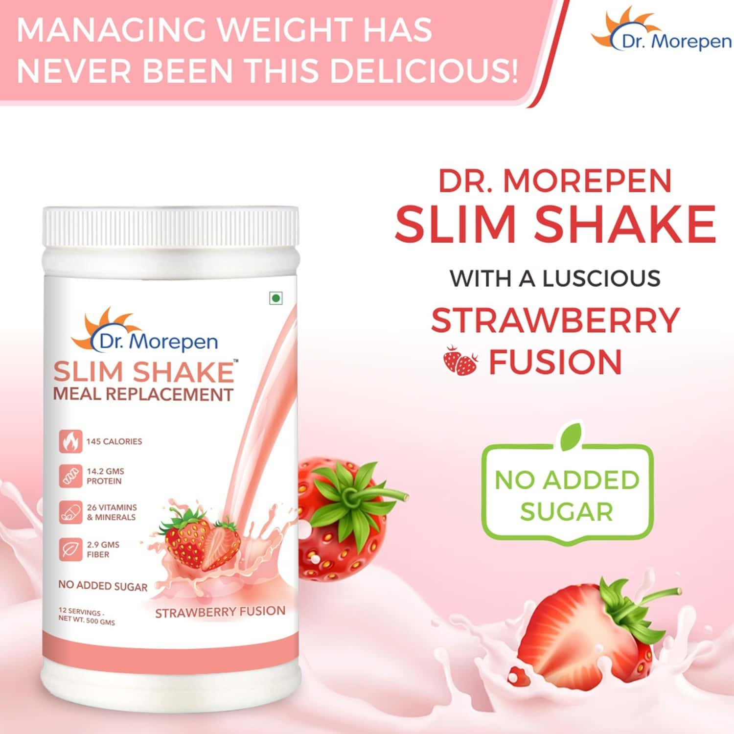 Dr. Morepen Slim Shake For Weight Management   Meal Replacement Protein Powder   Strawberry Flavour - 500g