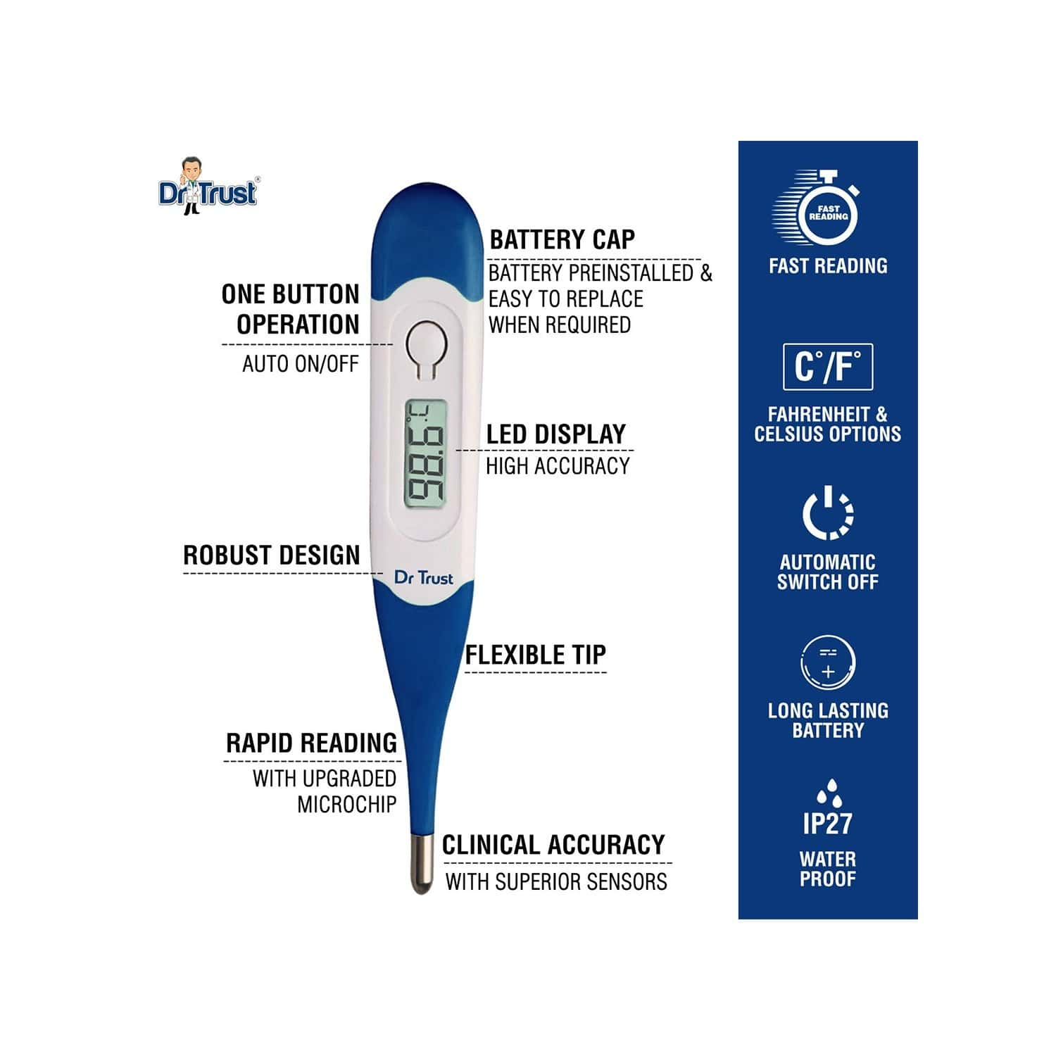 Dr Trust Usa Waterproof Flexible Tip Digital Thermometer - 1pc