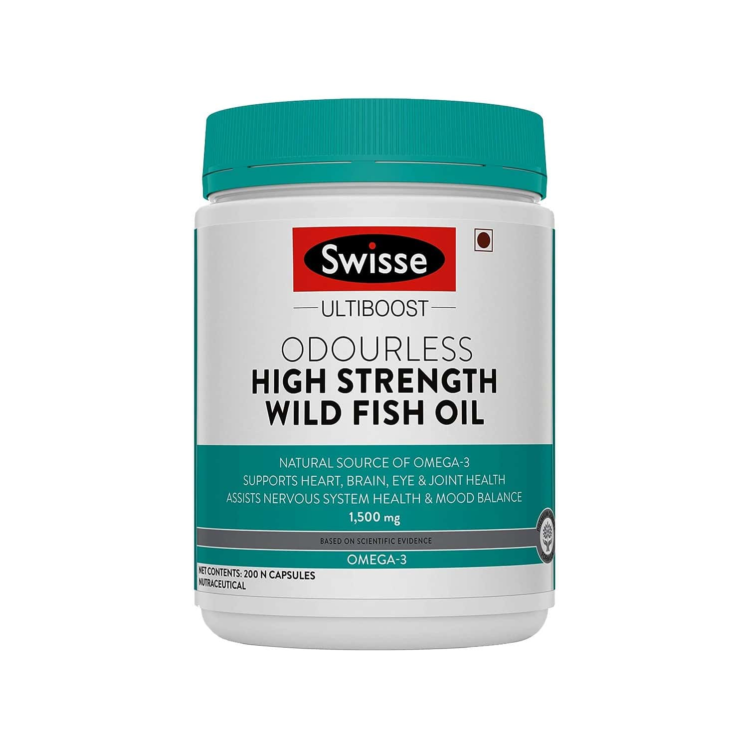 Swisse Ultiboost Odourless High Strength Wild Fish Oil With (1500 Mg) Omega 3 For Heart Brain Joints And Eyes - 200 Capsules