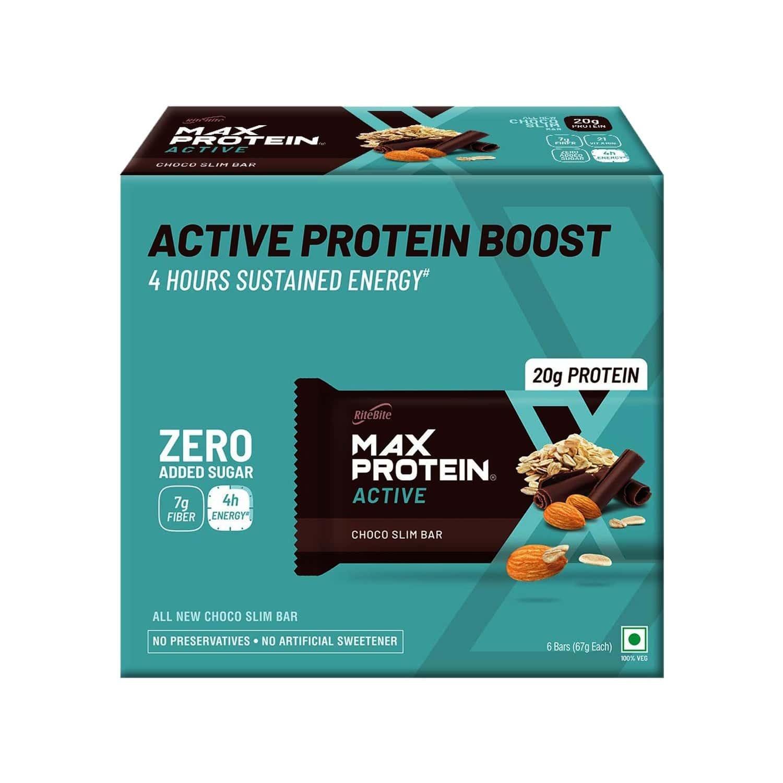Ritebite Max Protein Active Choco Slim Nutrition Bar (67gm X 6) Box Of 402 G