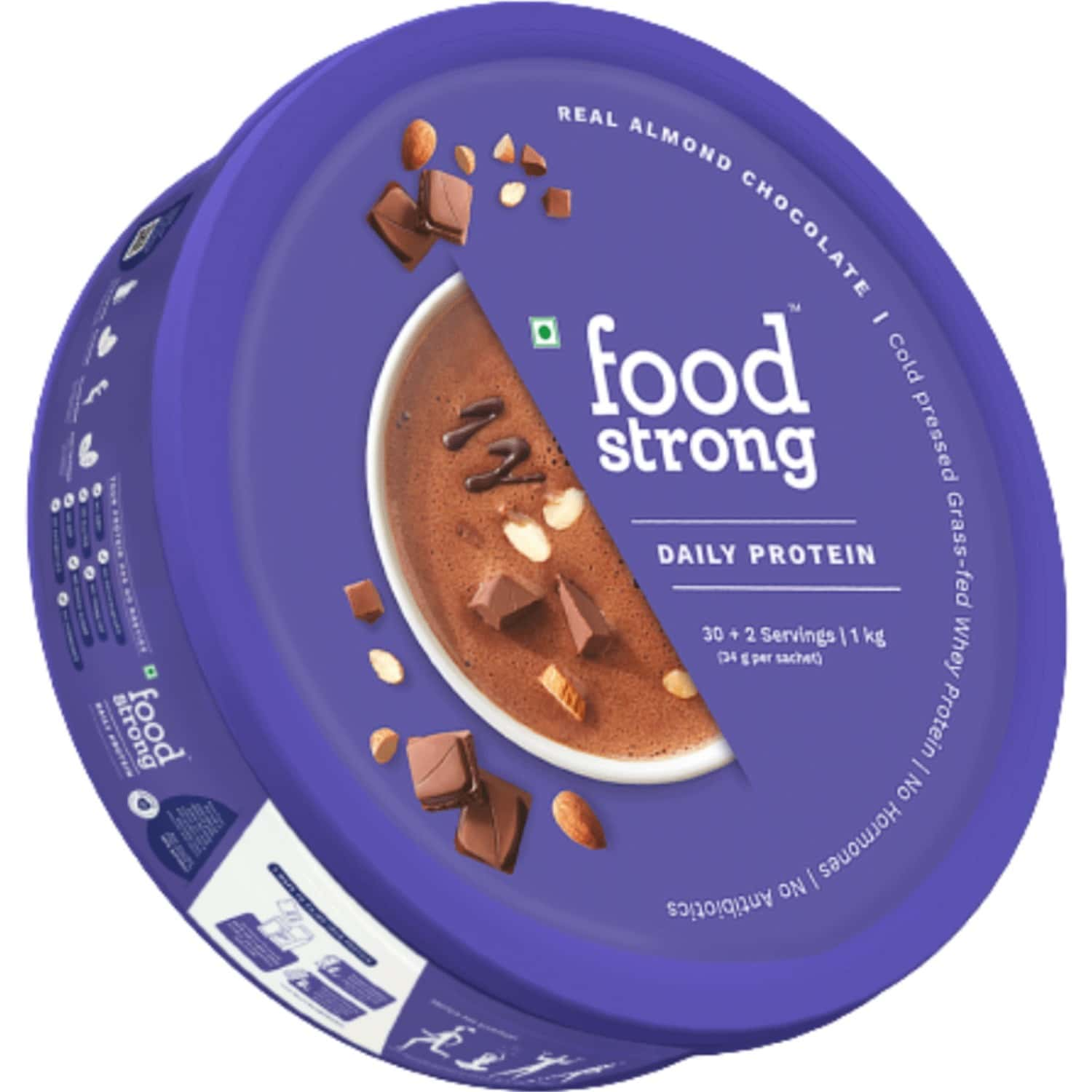 Foodstrong Daily Whey Protein Almond Chocolate - 1 Tin (32 Sachets,1086g)