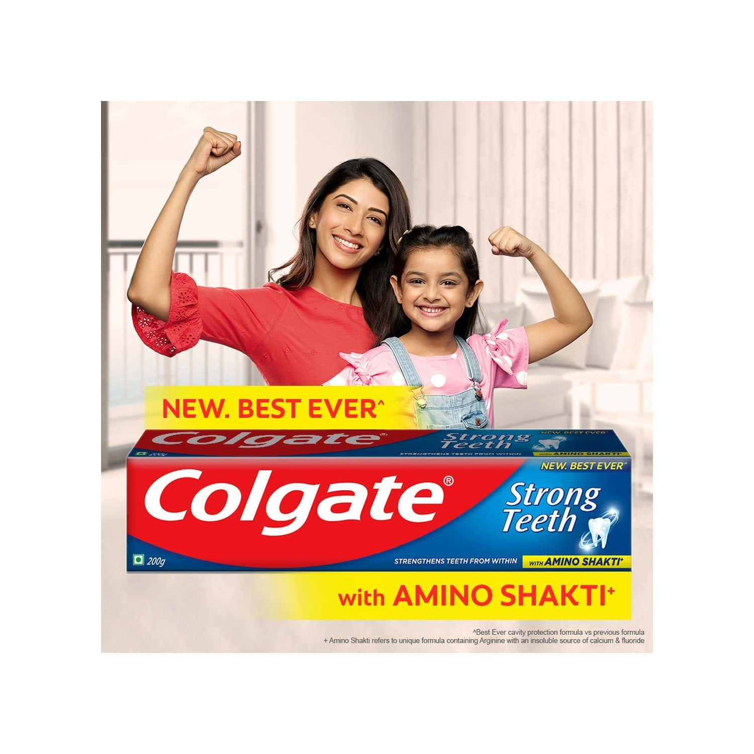 Colgate Strong Teeth : India's No.1 Toothpaste | Anticavity Toothpaste With Amino Shakti Formula 4x200g - 800g