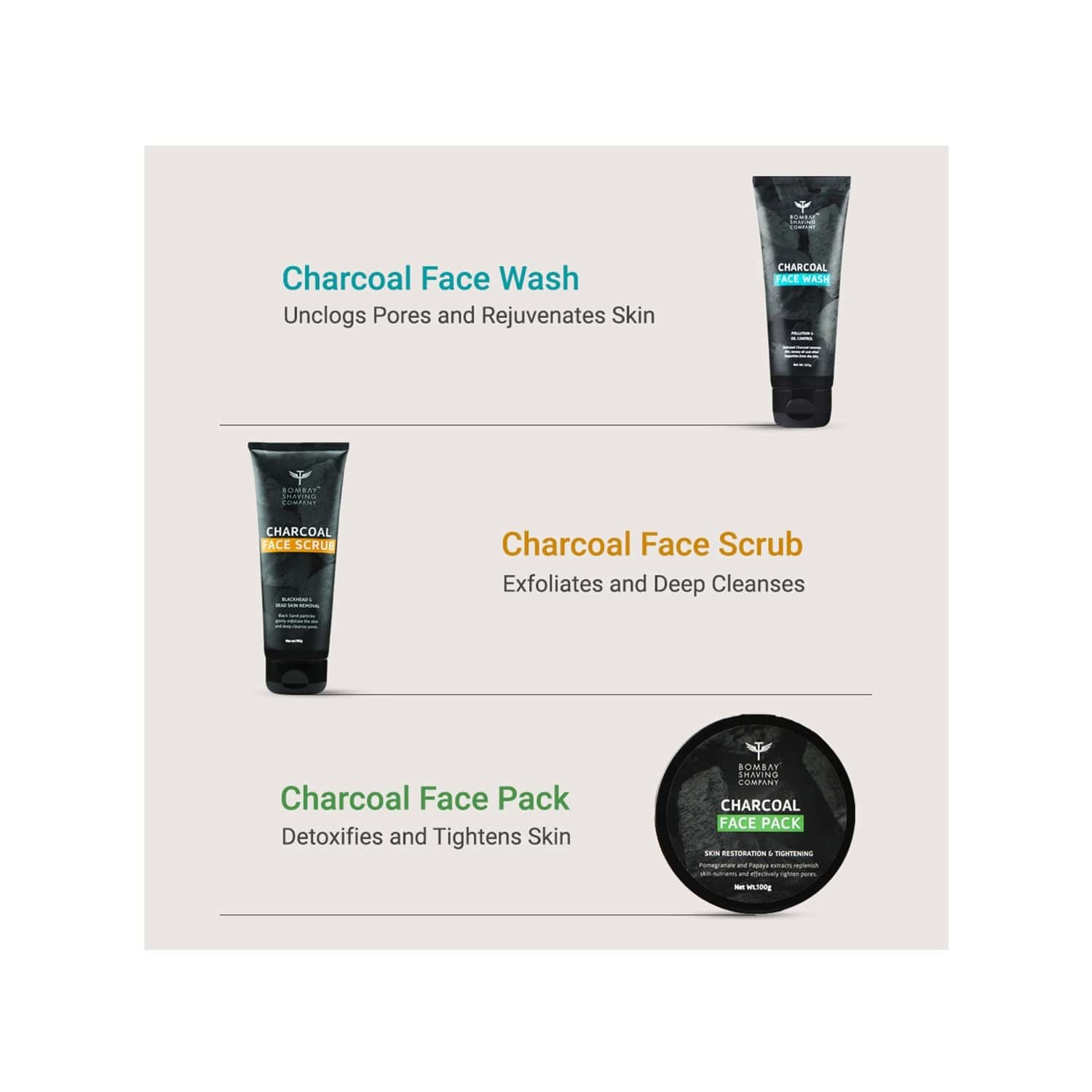 Bombay Shaving Company Deep Cleansing & De-tan Charcoal Set With Face Scrub, Peel-off Mask & Face Pack (set Of 3)