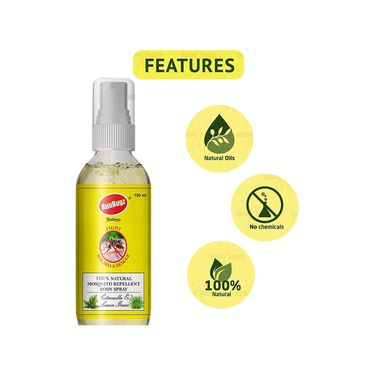 Runbugz Natural Mosquito Repellent Body Spray With Citronella And Lemon Grass 100 Ml (pack Of 1)
