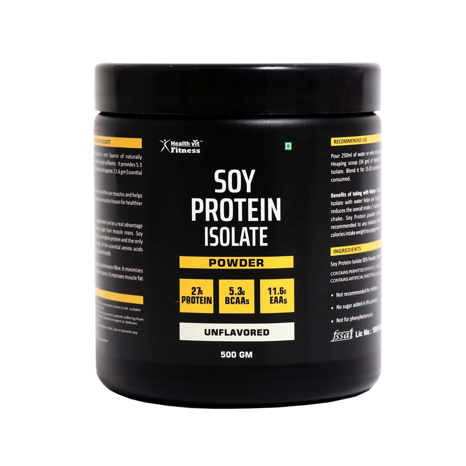 Healthvit Fitness Soy Protein Isolate Powder ( Unflavored ) - 500gm