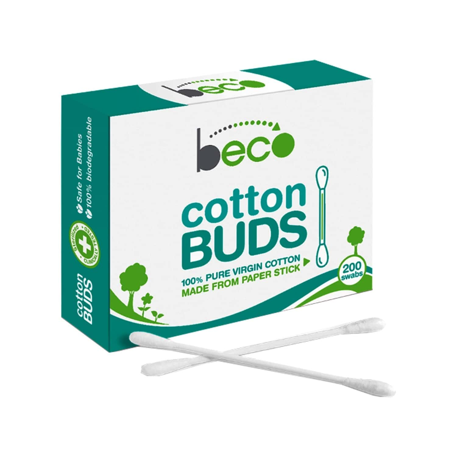 Beco Cotton Buds With Paper Stick - 100 Sticks (200 Swabs )