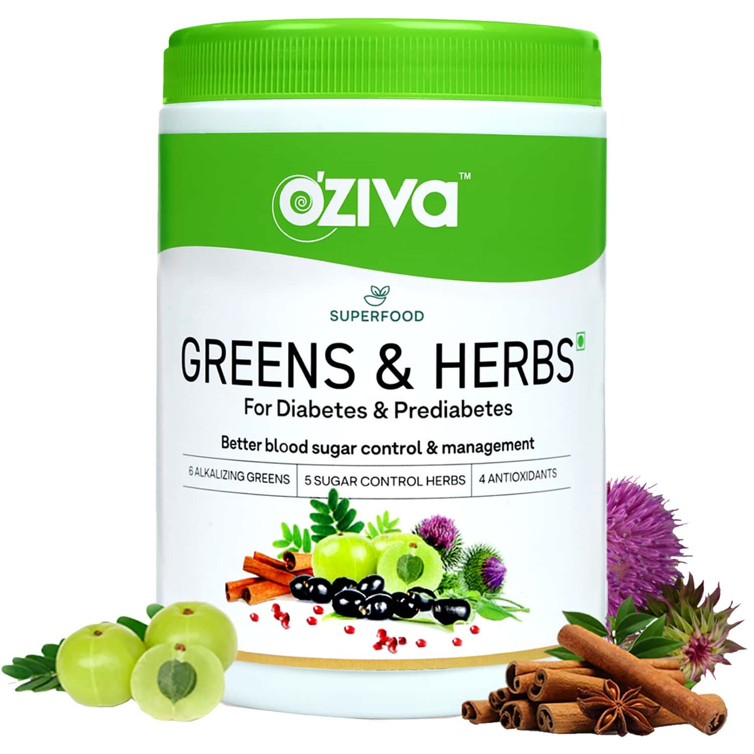 Oziva Superfood Greens & Herbs For Diabetes & Prediabetes (with Gymnema, Fenugreek, Milk Thistle Extract) - 250 Gm