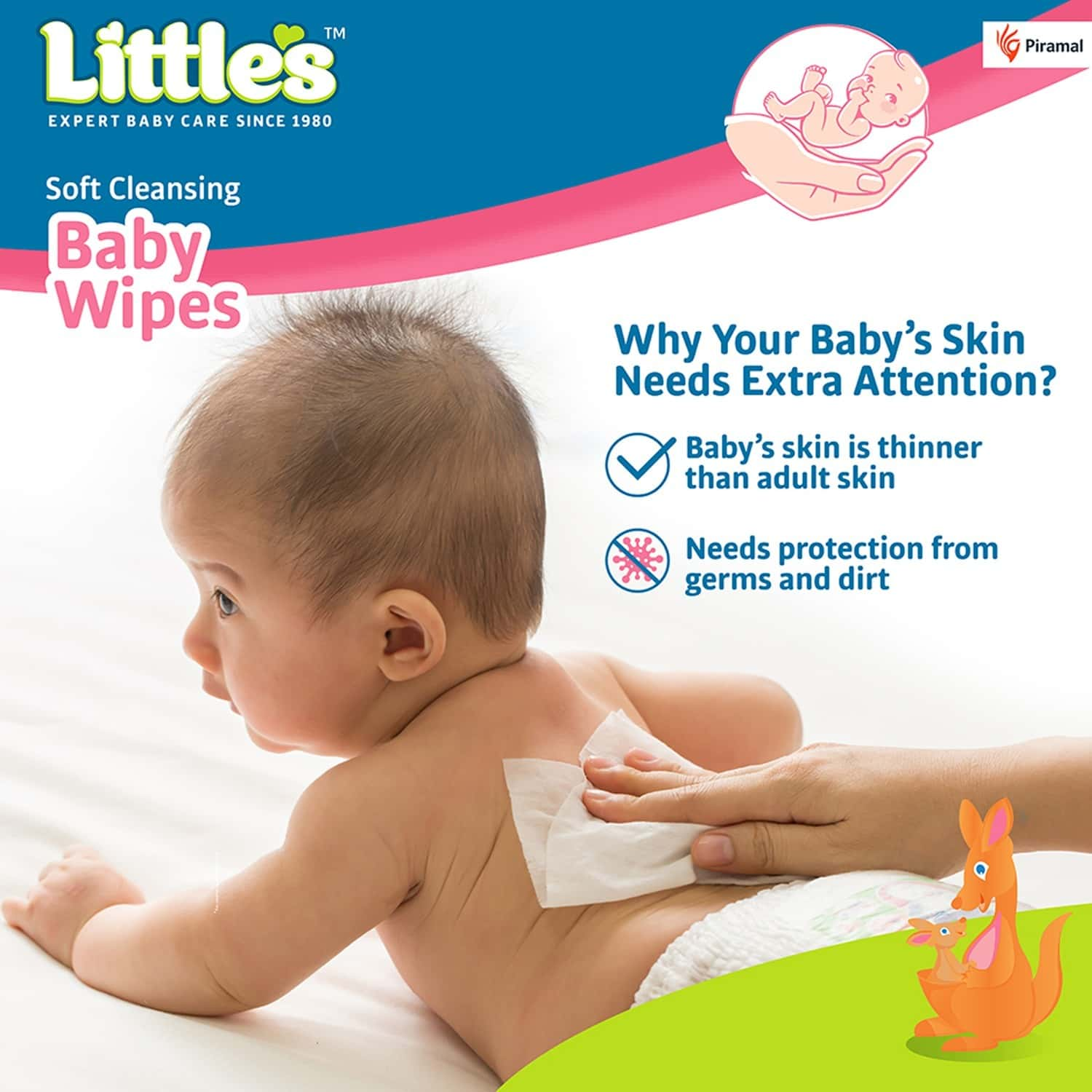 Little's Soft Cleansing Baby Wipes With Aloe Vera Jojoba Oil And Vitamin E - 80 Wipes ( Lid Pack )