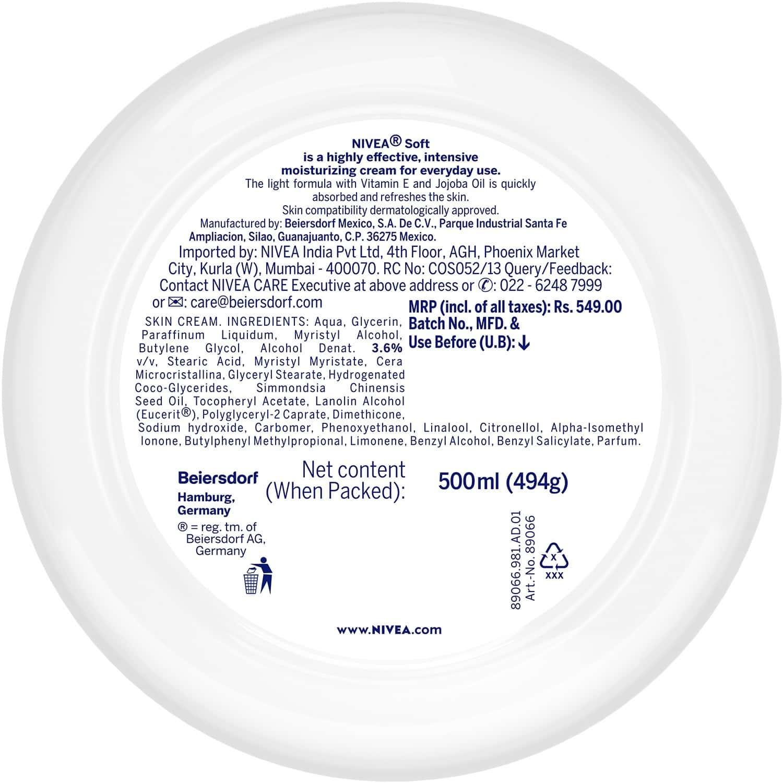 Nivea Soft, Light Moisturising Cream - 500ml