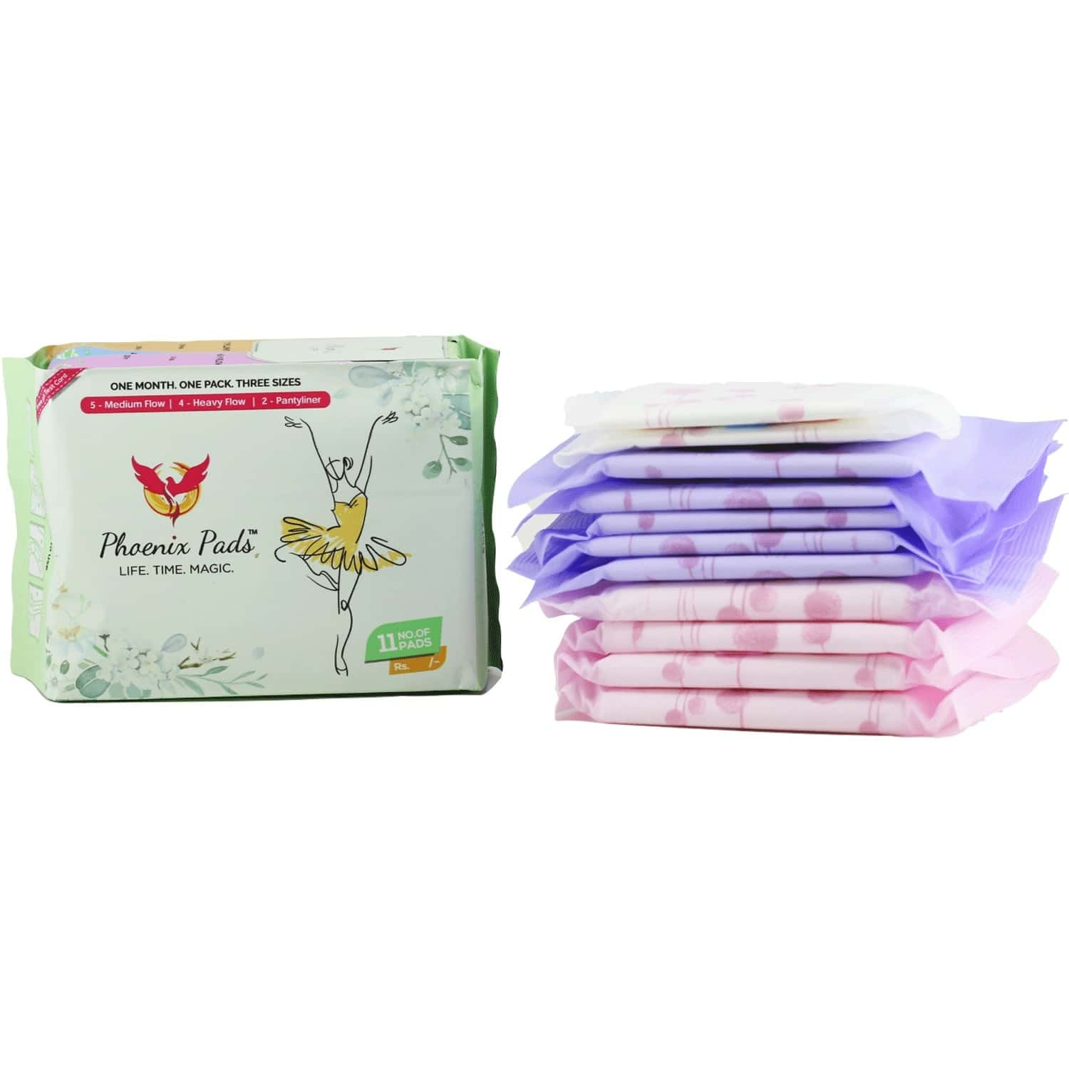 Phoenix Pads Ultra Thin Sanitary Pads With 4 Wings And Anion Chip - 11 Pcs (4 Heavy Flow, 5 Medium Flow, 2 Pantyliners)