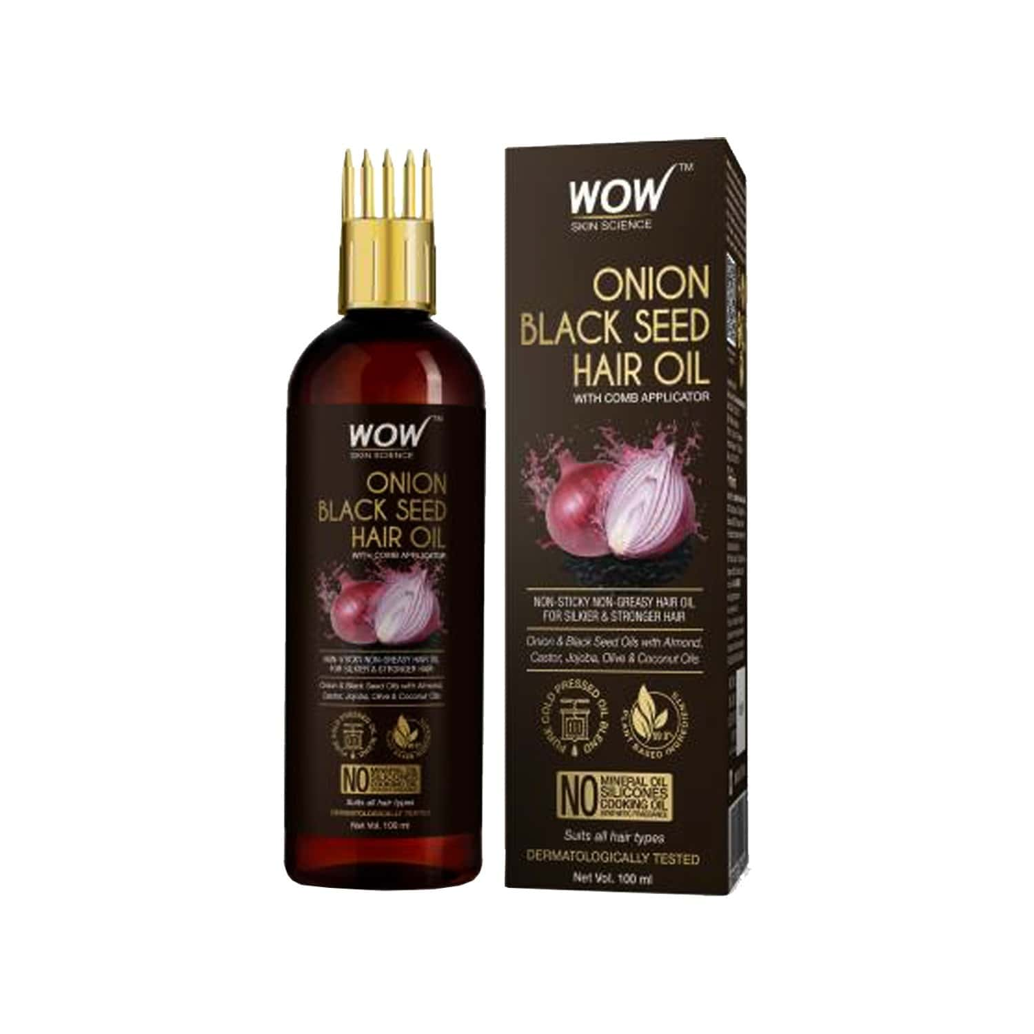 Wow Skin Science Onion Black Seed Hair Oil - 100 Ml With Comb
