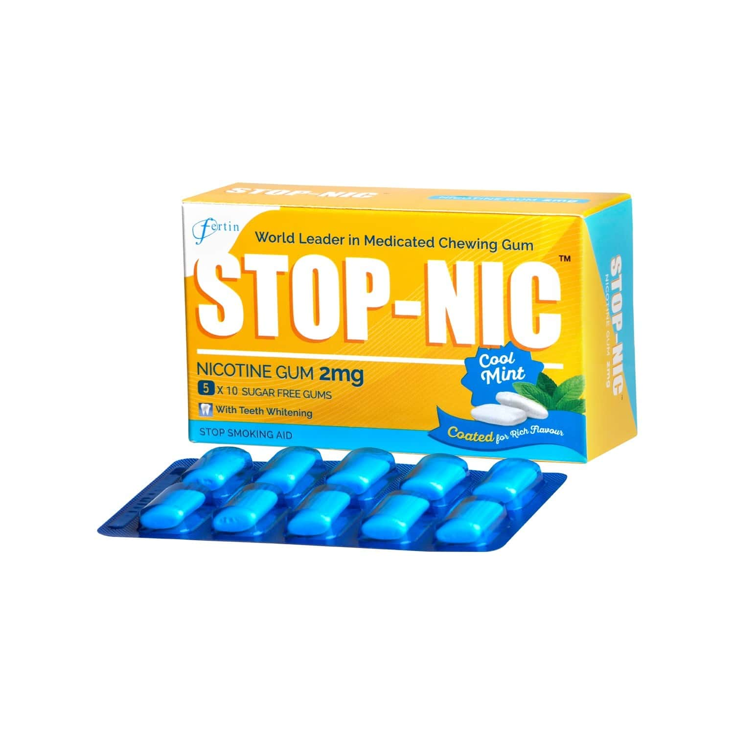 Stop-nic 2mg Nicotine Gums (5 Blister Pack) Box Of 50 's