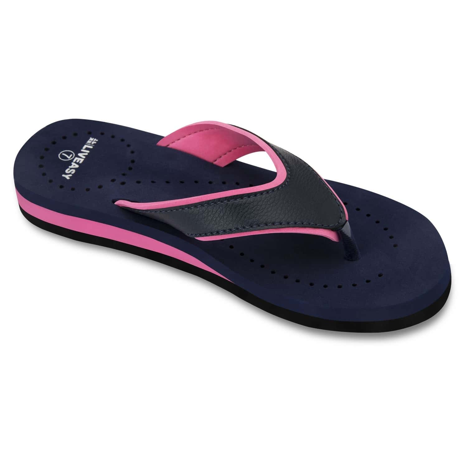 Liveasy Essentials Women's Diabetic & Orthopedic Slippers - Blue With Pink - Size Uk 5 / Us 8