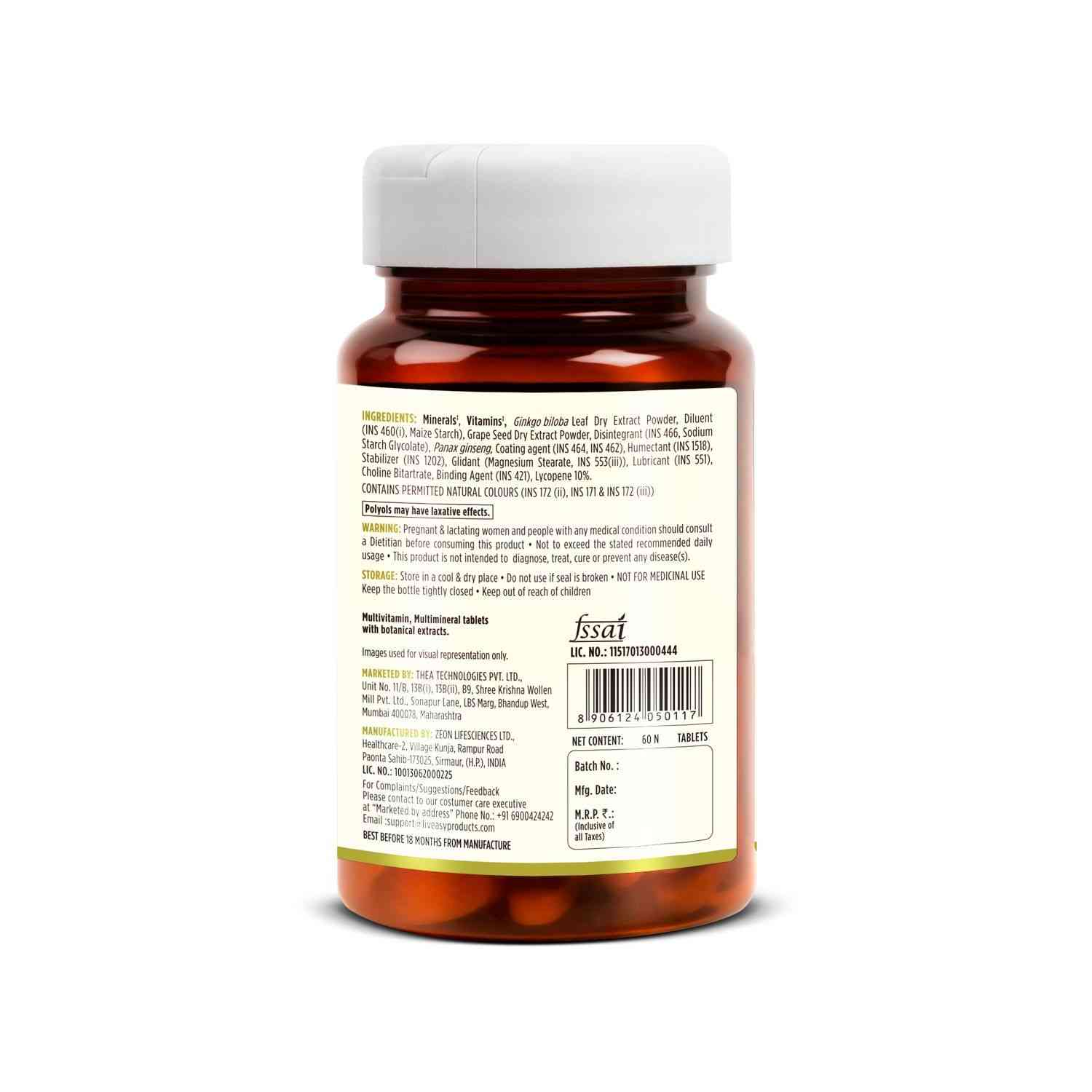 Liveasy Wellness Multivitamin Multimineral - Immunity Booster - Complete Nutrition - Bottle Of 60