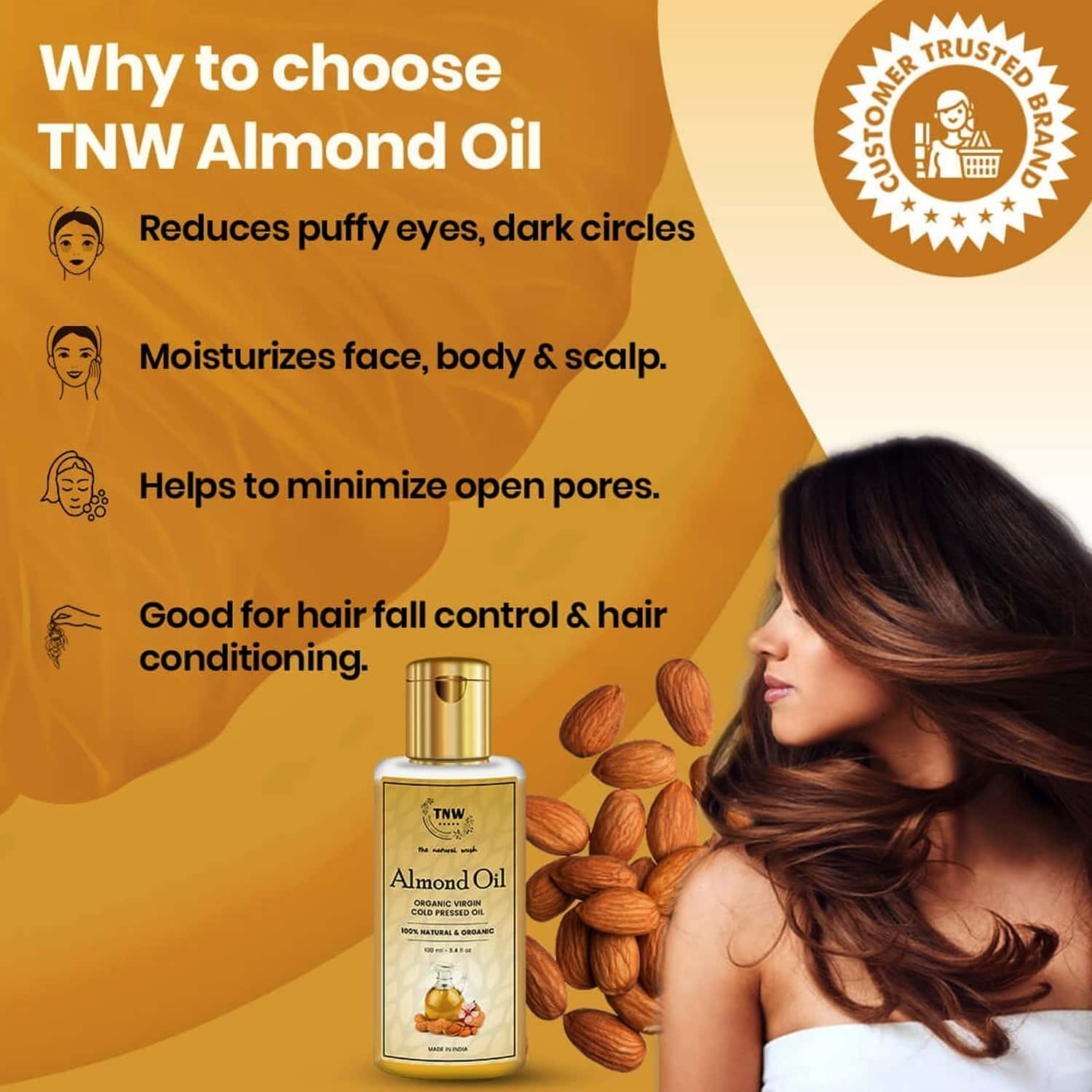 Tnw -the Natural Wash Cold Pressed Virgin Almond Oil For Face Skin Body Hair And Scalp - 100 Ml