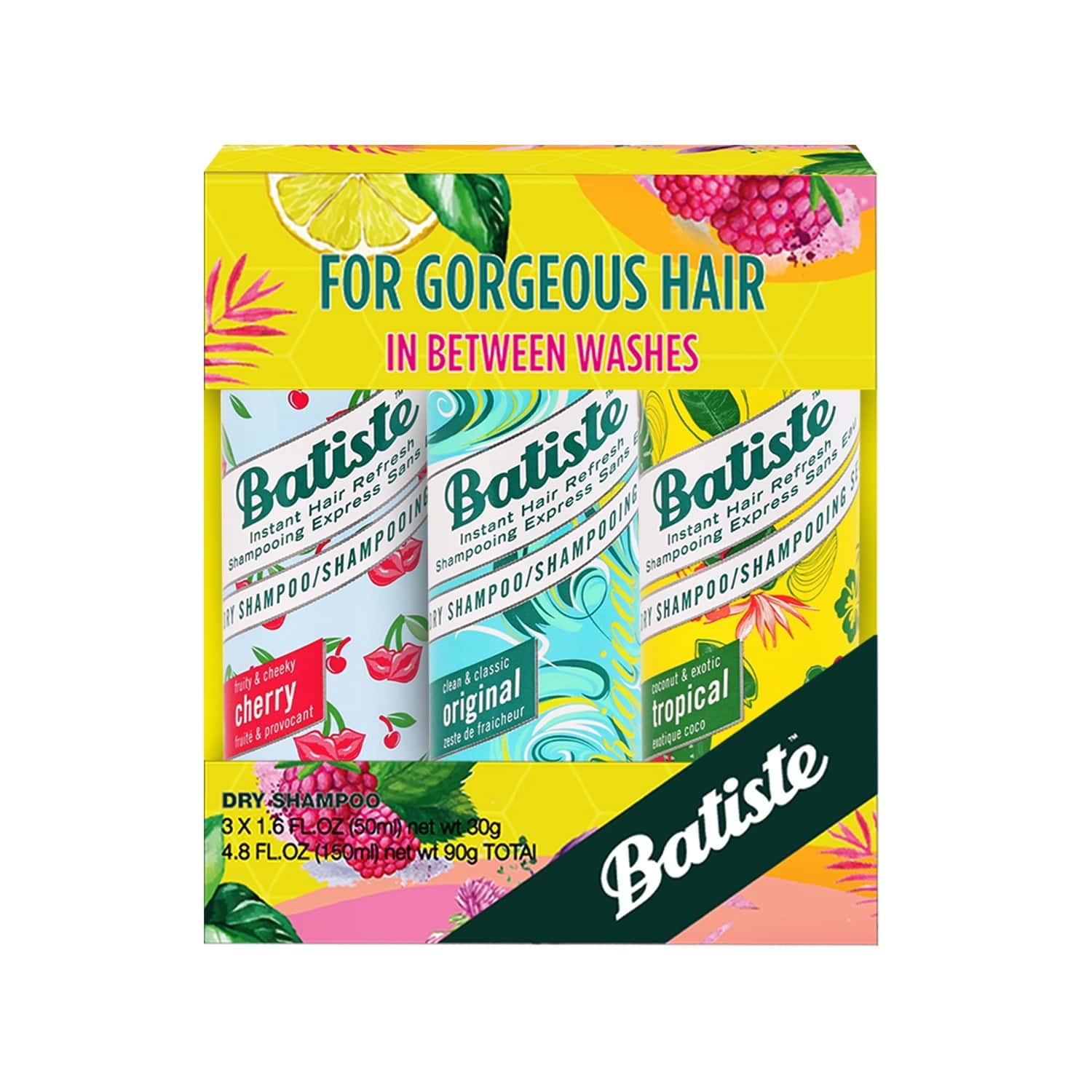 Batiste Fruity & Cheeky Cherry, Clean & Classic Original, Coconut & Exotic Tropical Dry Shampoo - 150ml (pack Of 3 X 50ml)