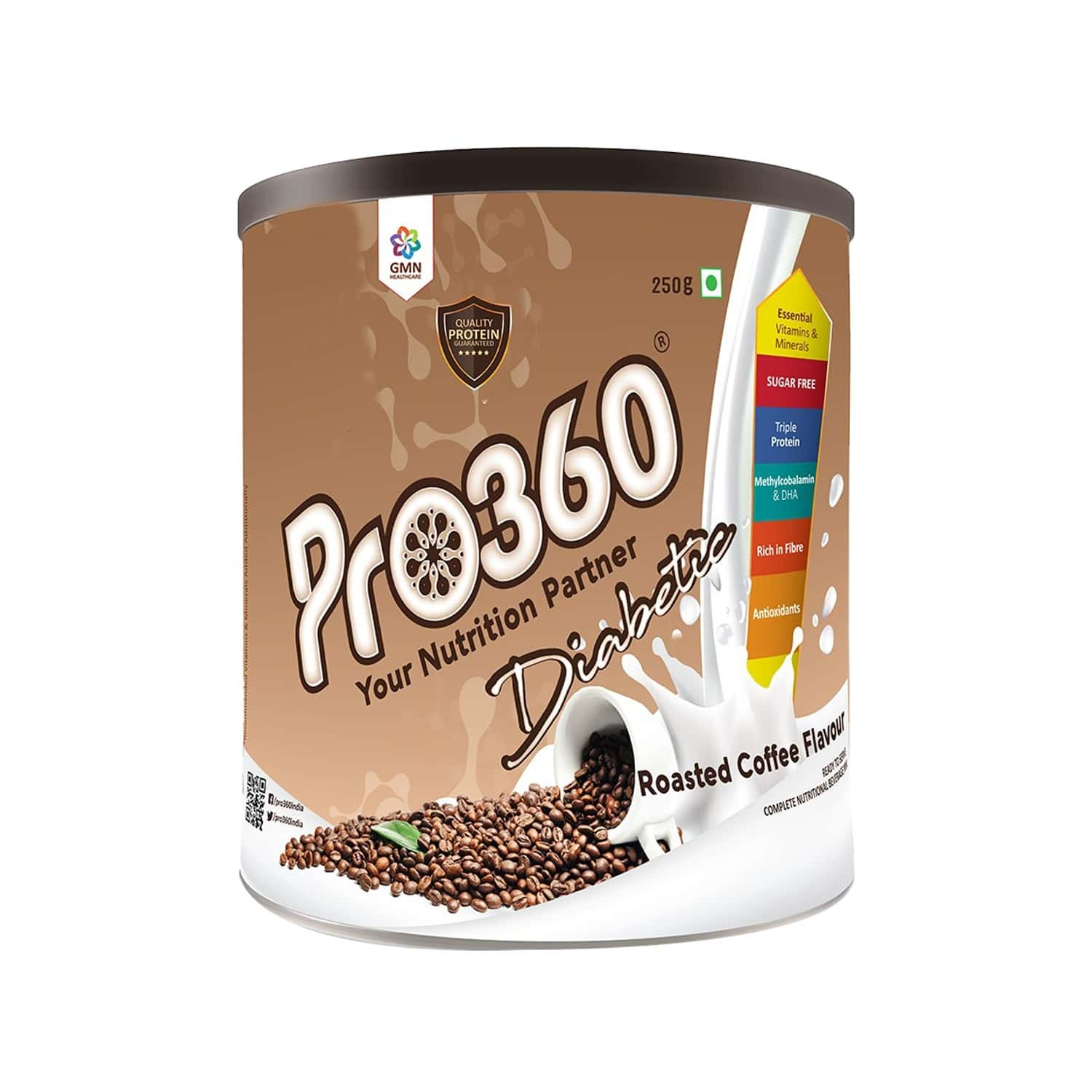 Pro360 Diabetic Nutritional Beverage Mix - Roasted Coffee Flavour - 250gm - Tin