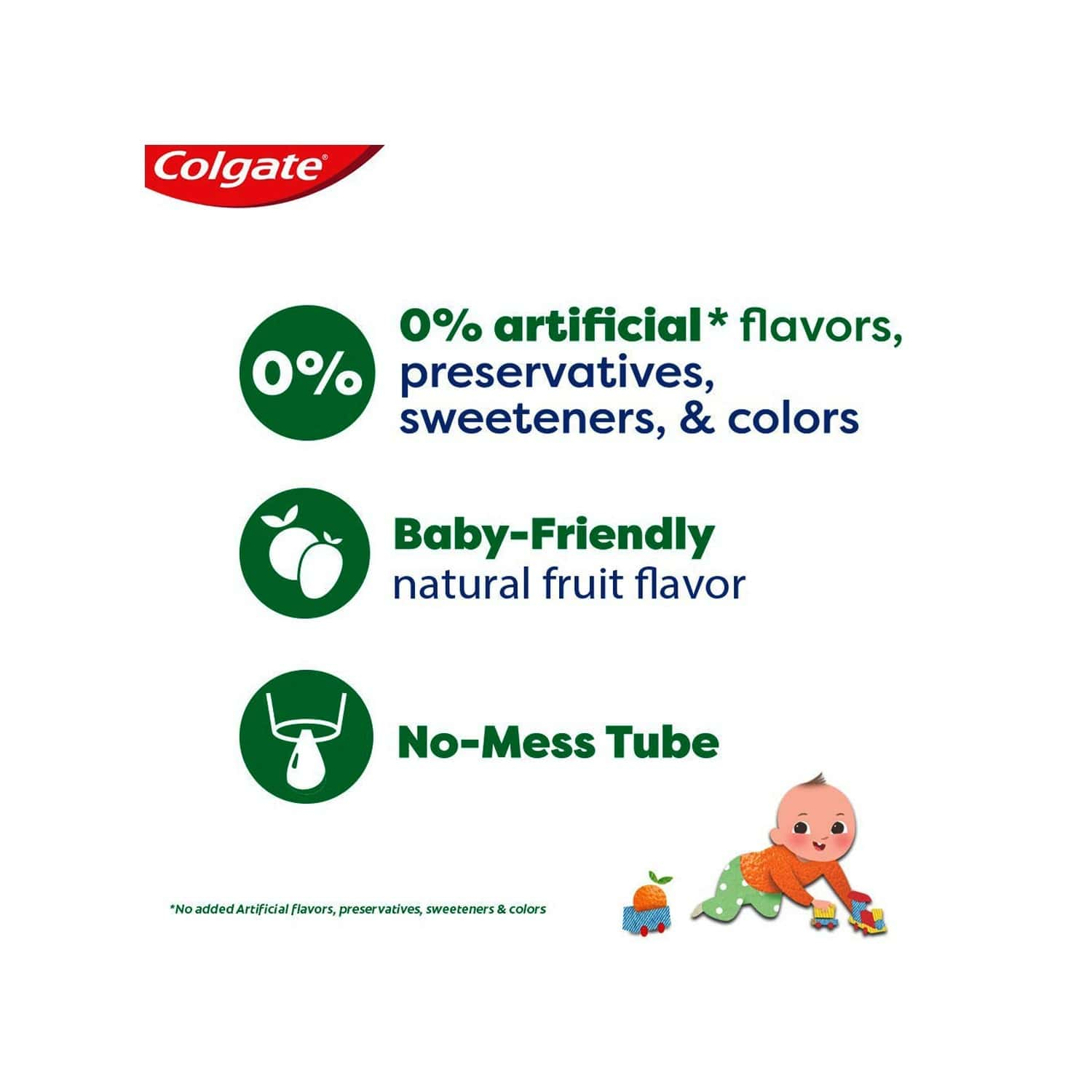 Colgate Toothpaste For Kids (0-2 Years), Natural Fruit Flavour, Fluoride Free - 70g Tube