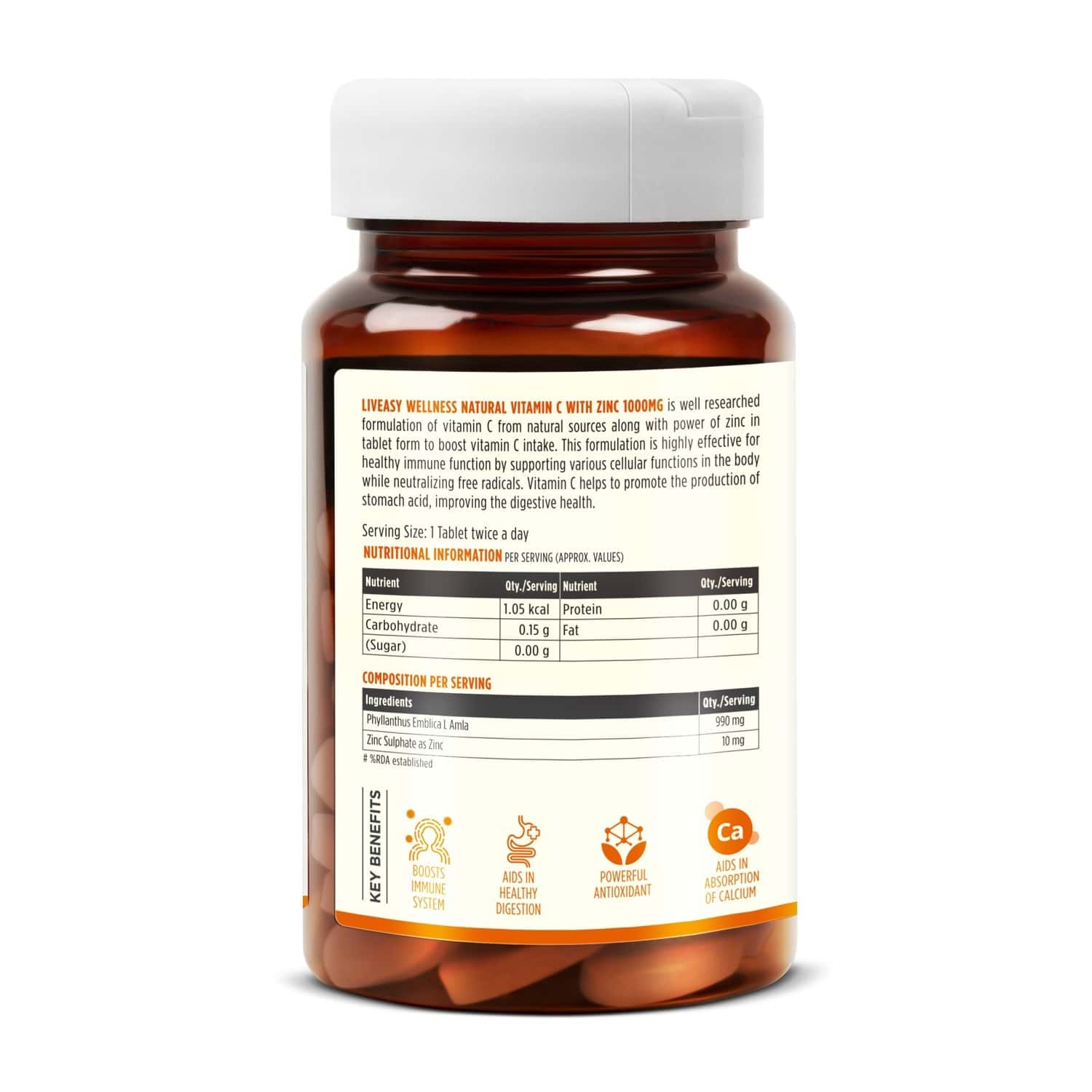 Liveasy Wellness Vitamin C (990mg) With Zinc (10mg) - Powerful Immunity Booster - 60 Veg Tablets